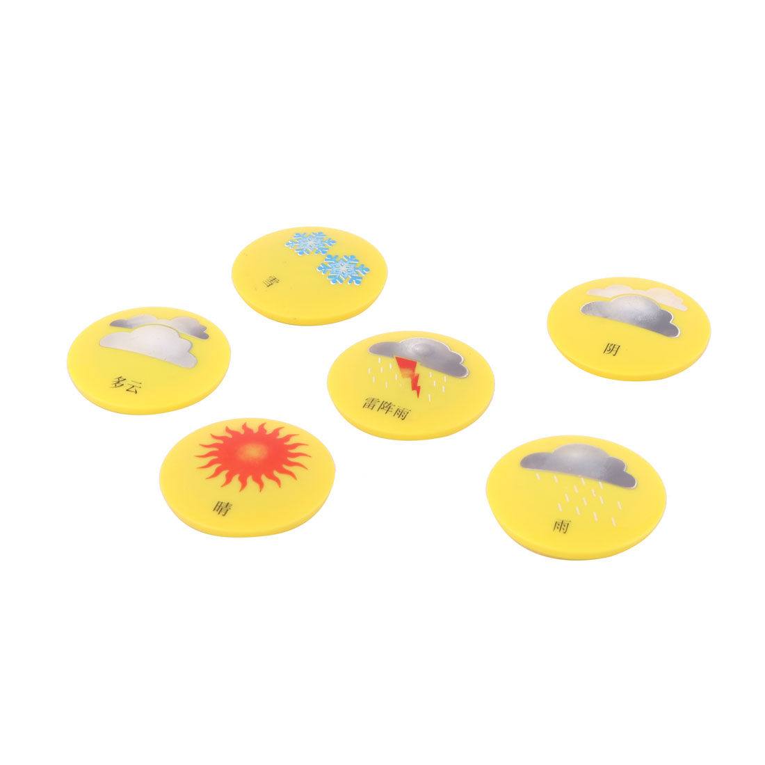 Home Office Plastic Shell Weather Report Pattern Bulletin Board Fridge Magnet Yellow 6pcs