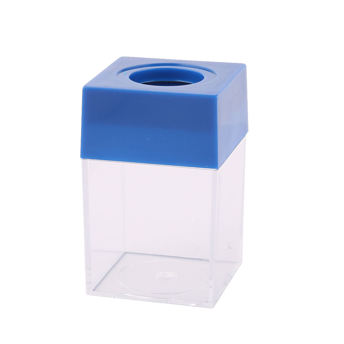 Office Home Plastic Square Shaped Paper Clip Dispenser Holder Box Case Container Blue