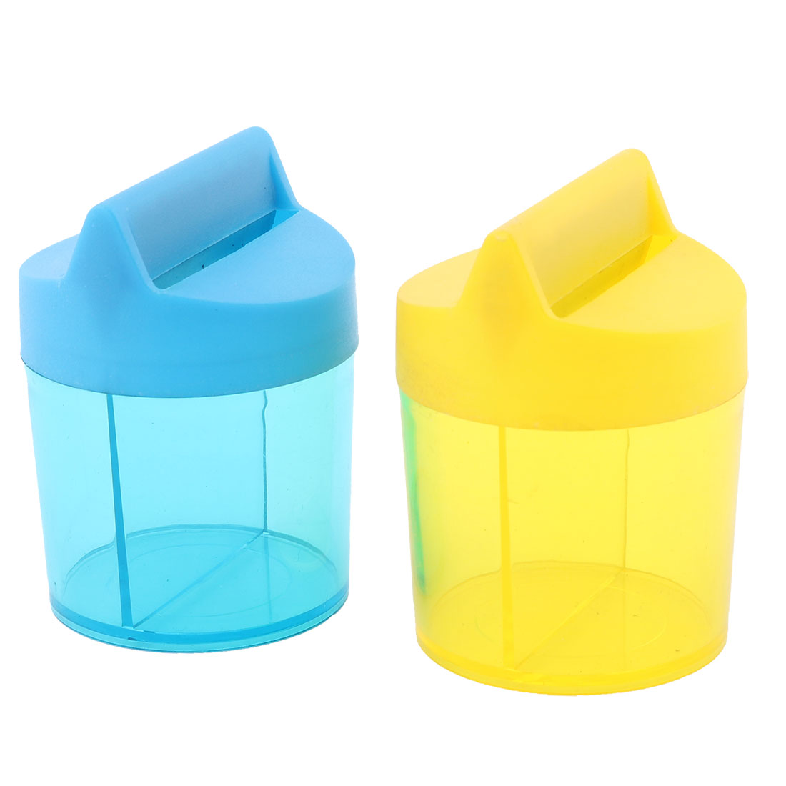 Student Office Plastic Round Shaped Paper Clip Dispenser Holder Box Case Yellow Blue 2pcs