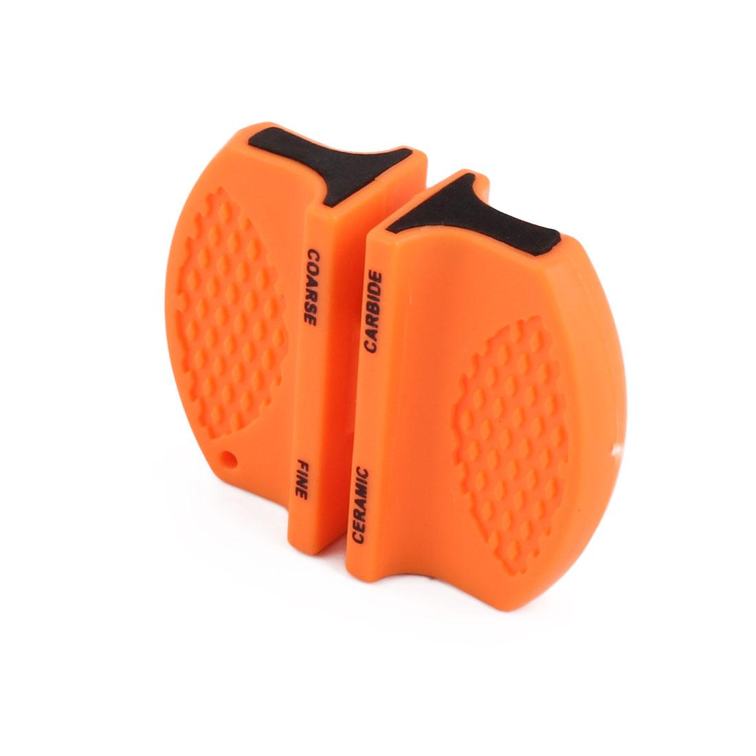 Household Kitchen Portable Pocket Cutter Sharpener Grinder Black Orange