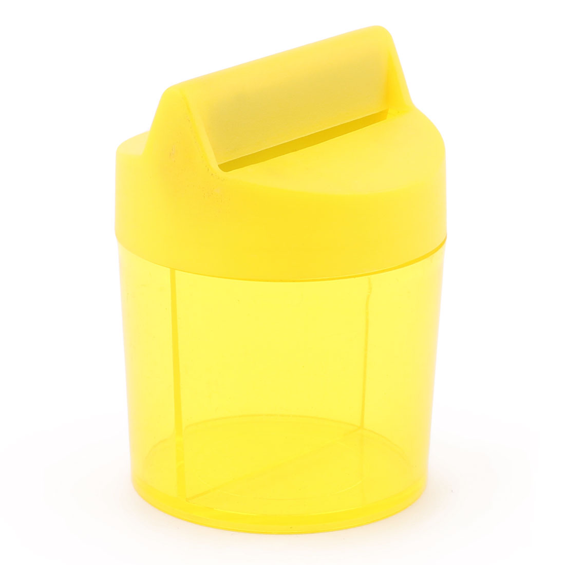 Office Home Plastic Round Shaped Paper Clip Dispenser Box Case Container Yellow