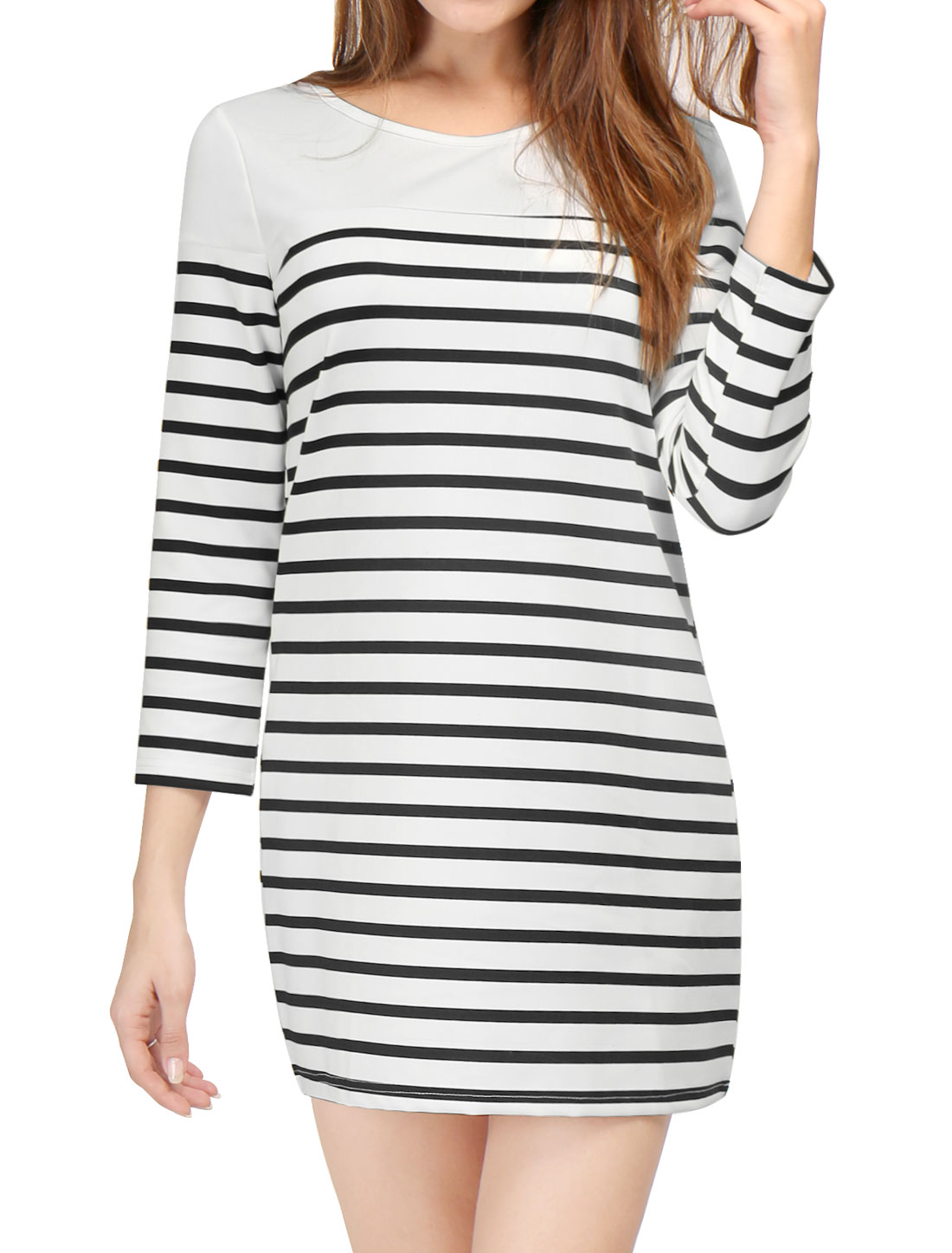 Women 3/4 Sleeves Heart Cutout Back Stripes Shift Dress White XS