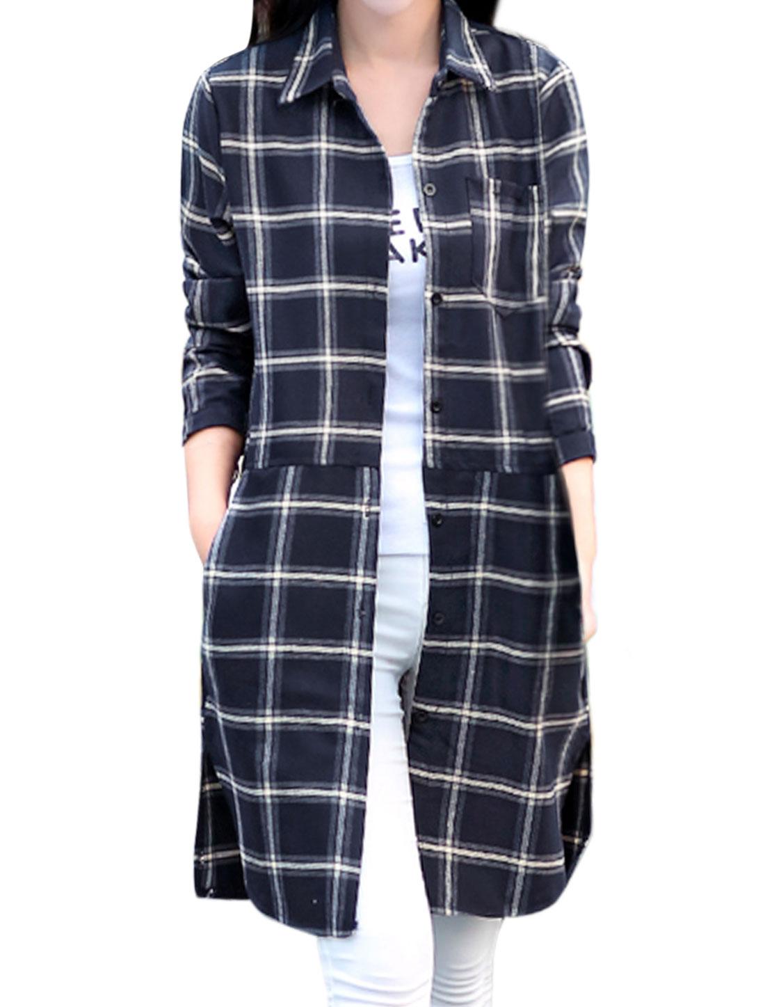 Women Point Collar Long Sleeves Plaids Split Sides Tunic Shirt Beige M
