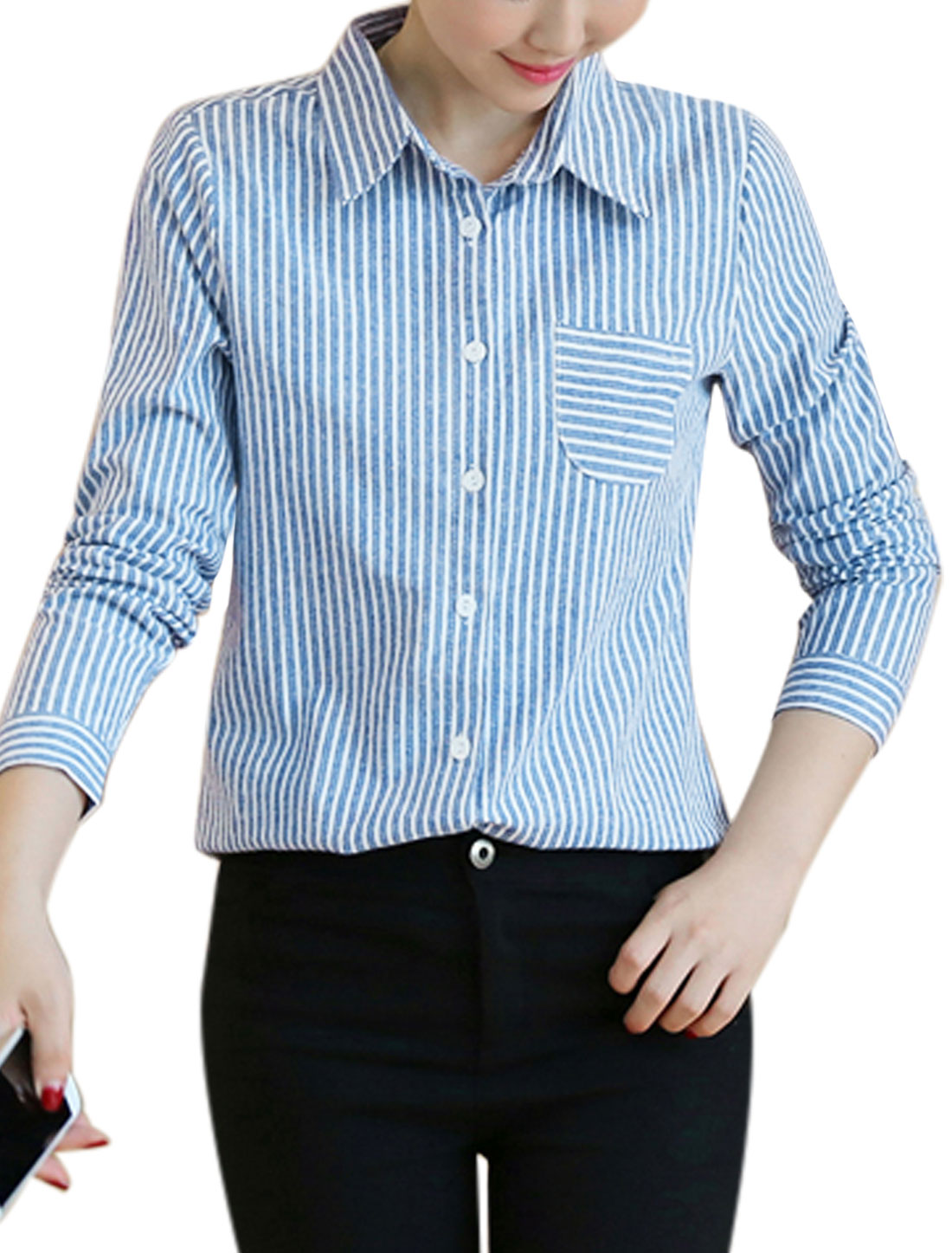 Women Long Sleeves Stripes Chest Pocket Loose Button Down Shirt Light Blue S