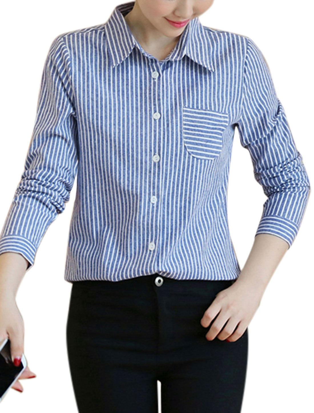 Women Long Sleeves Stripes Chest Pocket Loose Button Down Shirt Navy Blue S