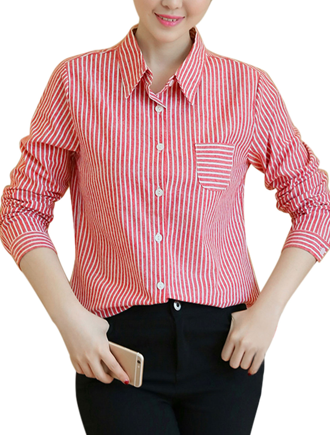 Women Long Sleeves Stripes Chest Pocket Loose Button Down Shirt Red S