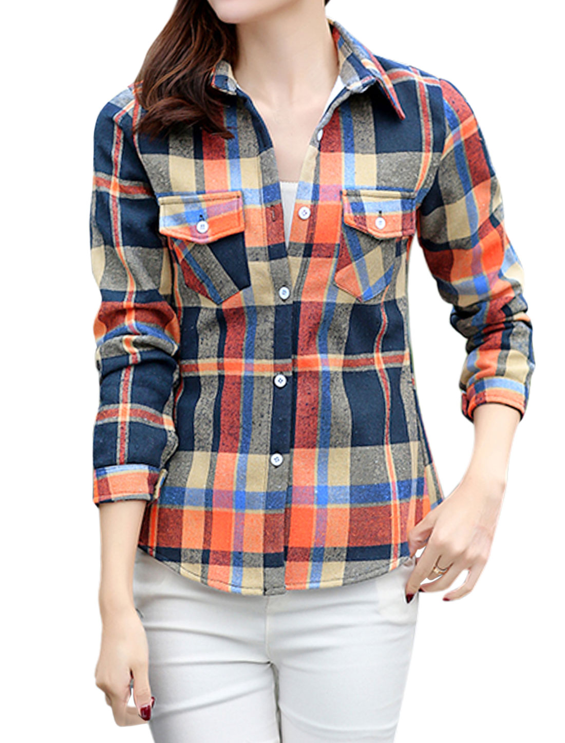 Women Long Sleeves Checks Pocket Button Closure Shirt Orange S