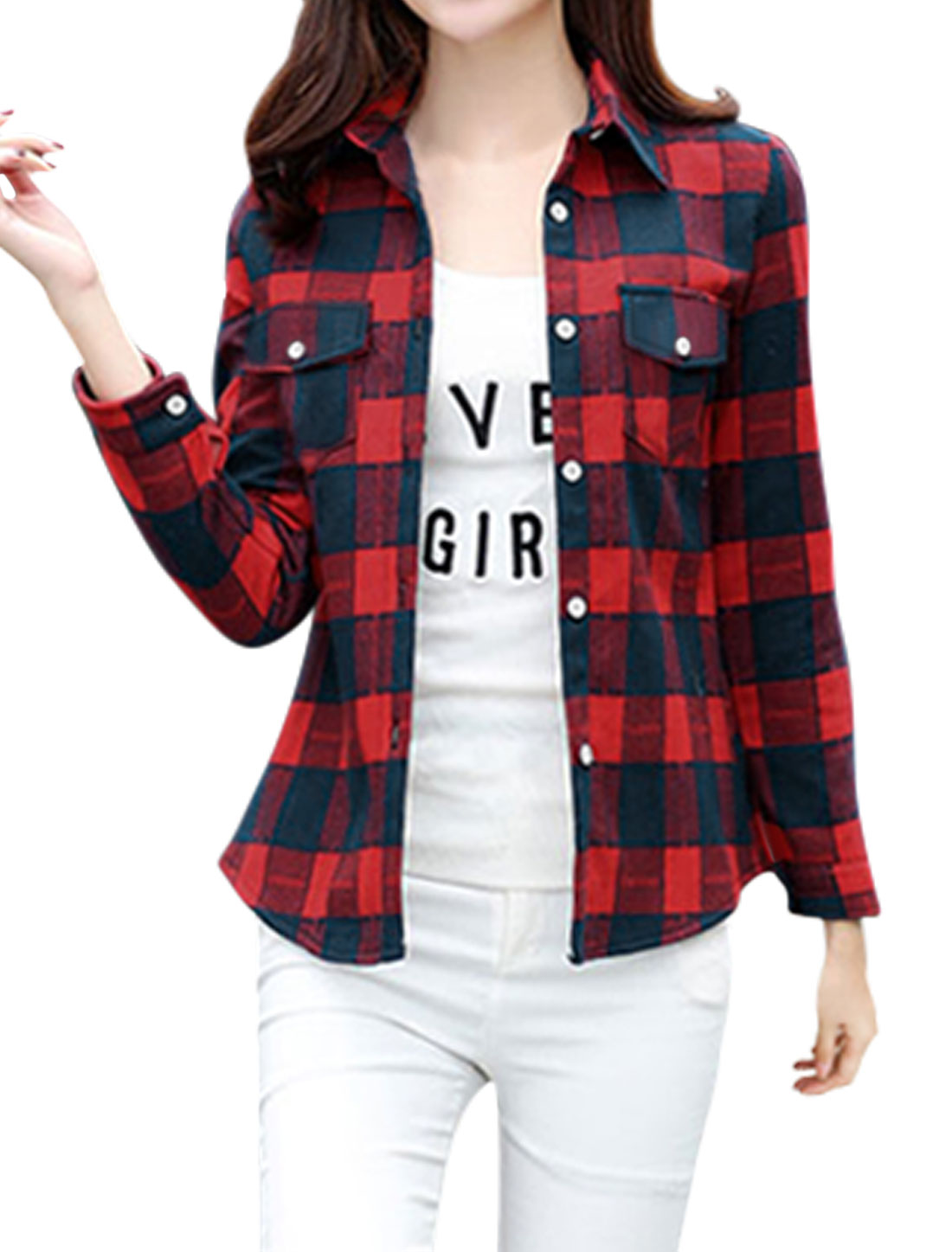 Women Long Sleeves Chest Pocket Button Down Checks Shirt Red S