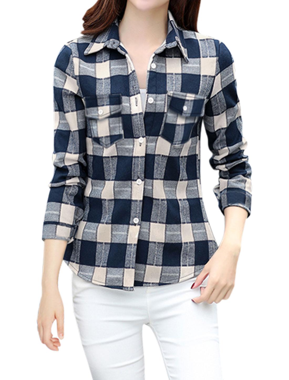 Women Long Sleeves Chest Pocket Button Down Checks Shirt Blue S