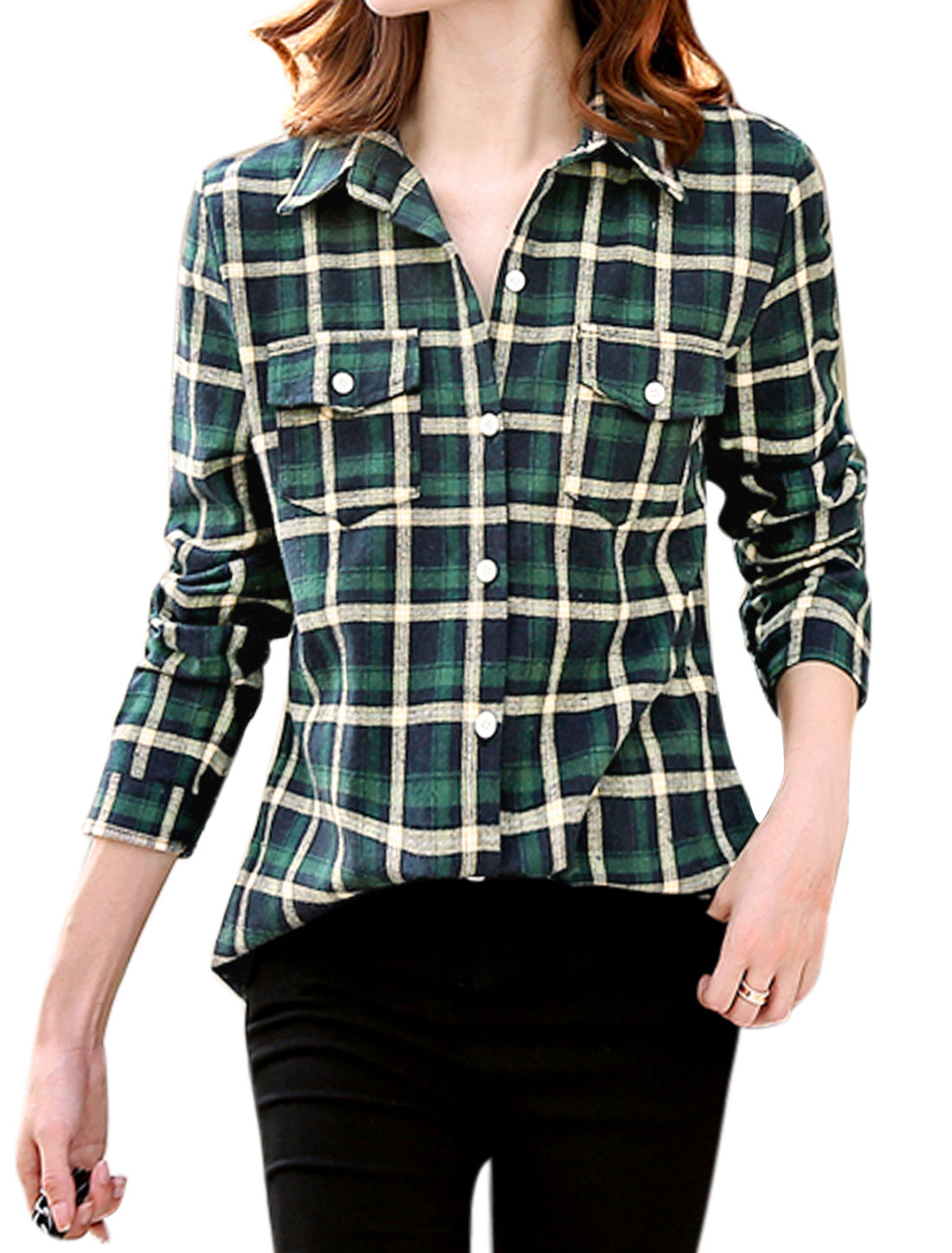 Women Checks Long Sleeves Flap Pocket Button Down Shirt Green S