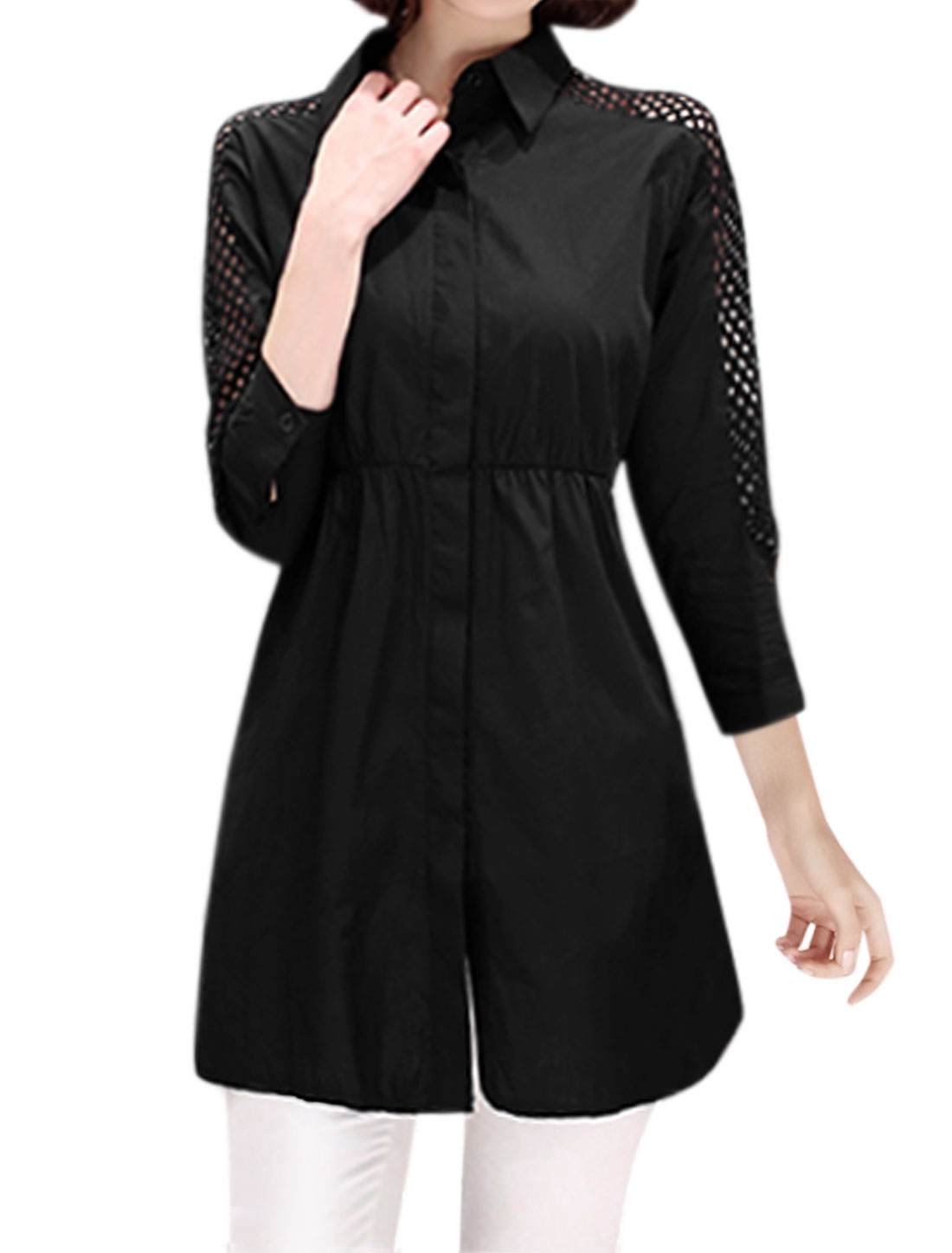 Women Semi Sheer Sleeves Mesh Panel Shirred Waist Tunic Shirt Black S