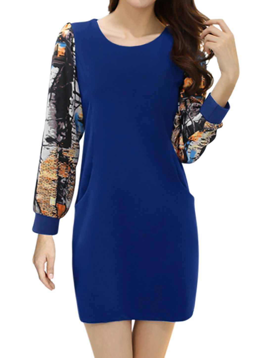 Women Novelty Prints Long Sleeves Paneled Tunic Dress Blue M