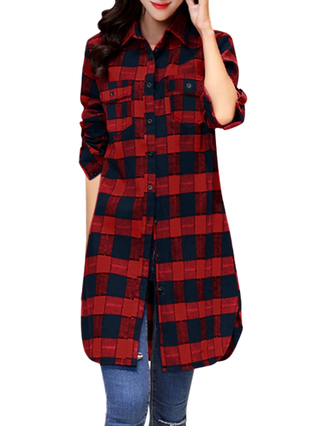 Women Roll Up Sleeves Checks Pocket Button Down Tunic Jacket Red XS