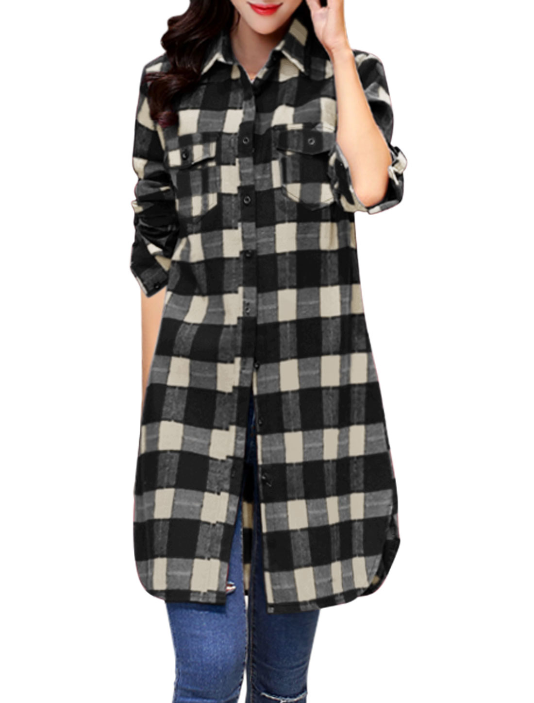 Women Roll Up Sleeves Checks Pocket Button Down Tunic Jacket Black XS