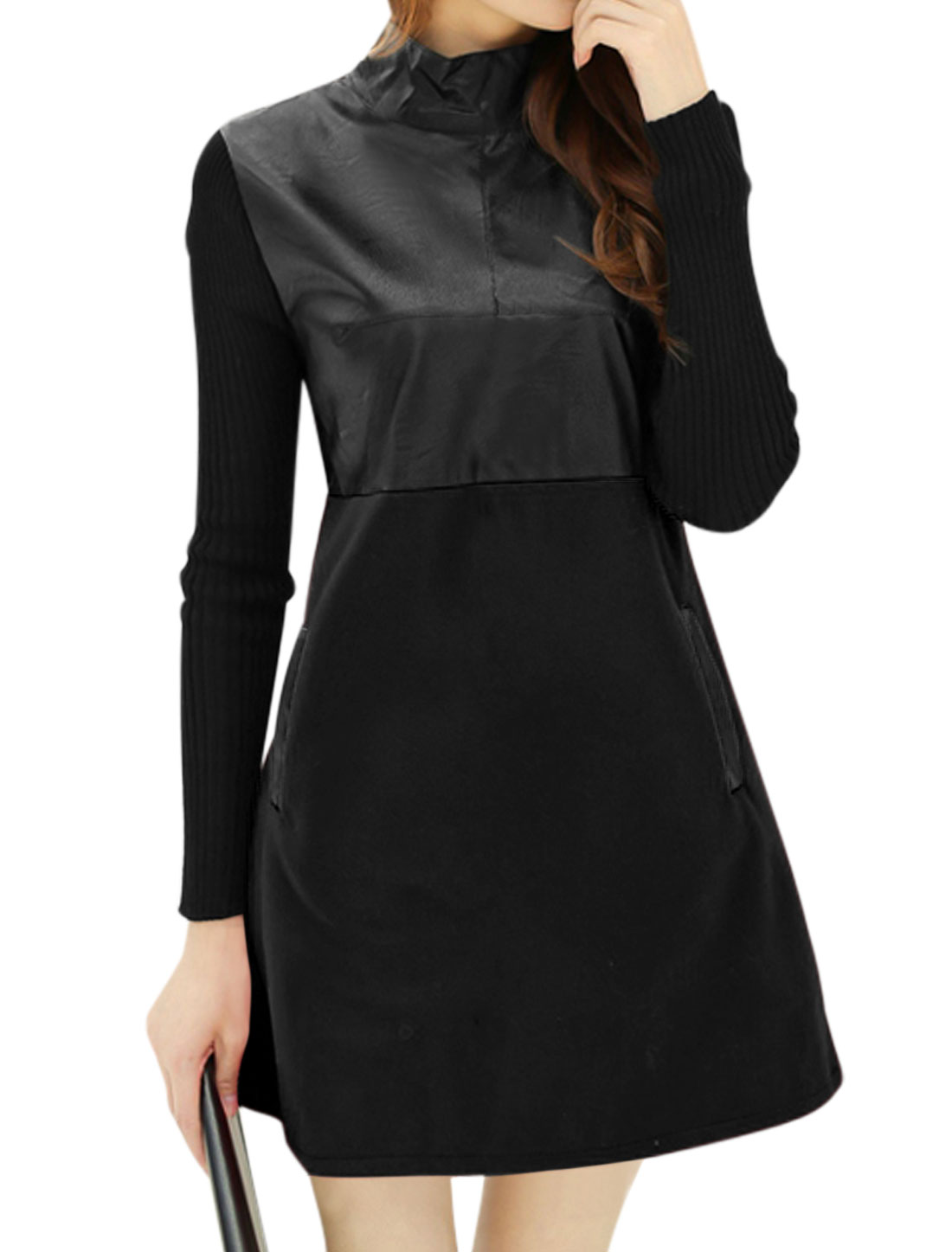 Women Knitting Long Sleeves PU Panel A Line Tunic Worsted Dress Black M