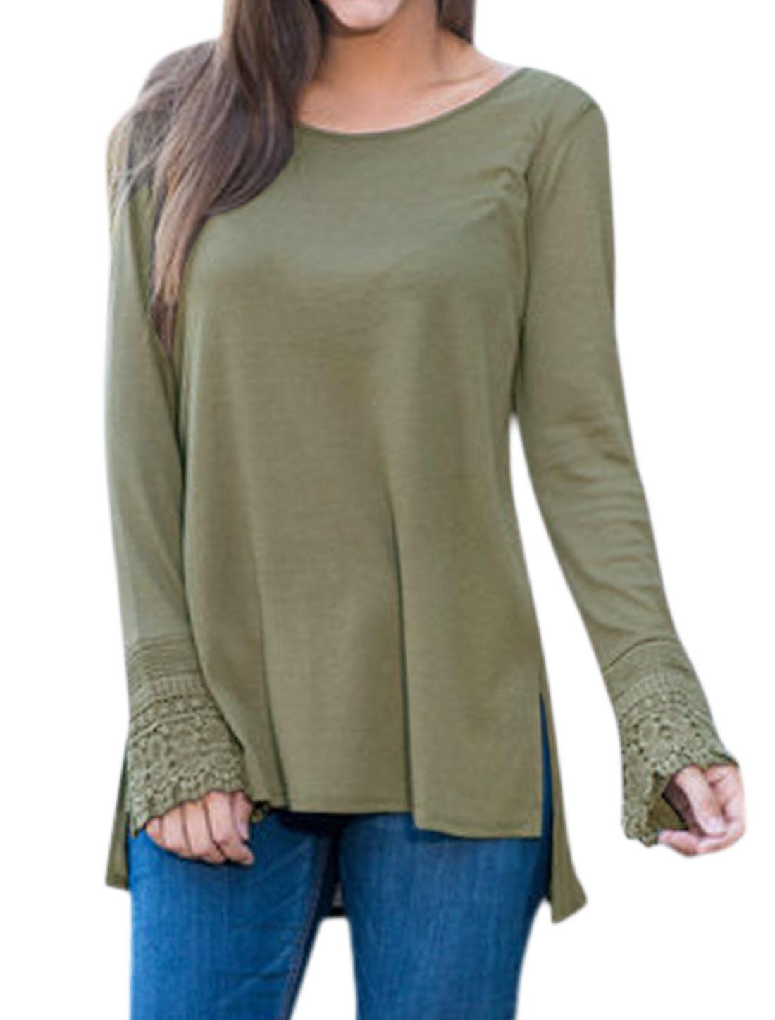 Women Round Neck Long Sleeves Crochet High Low Hem Tunic Top Green XS