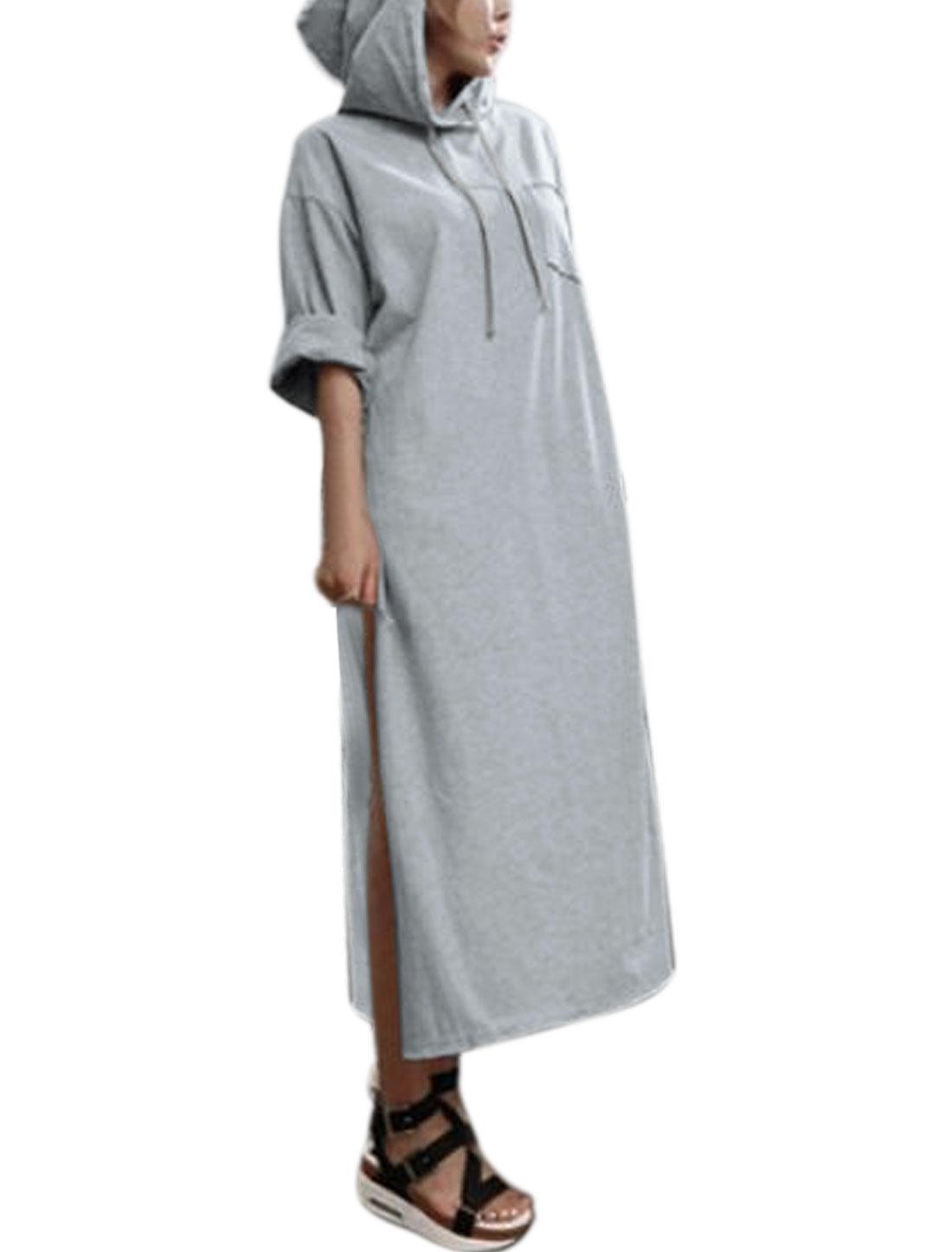Women Kimono Sleeves High Slits Pocket Midi Drawstring Hooded Top Gray XS