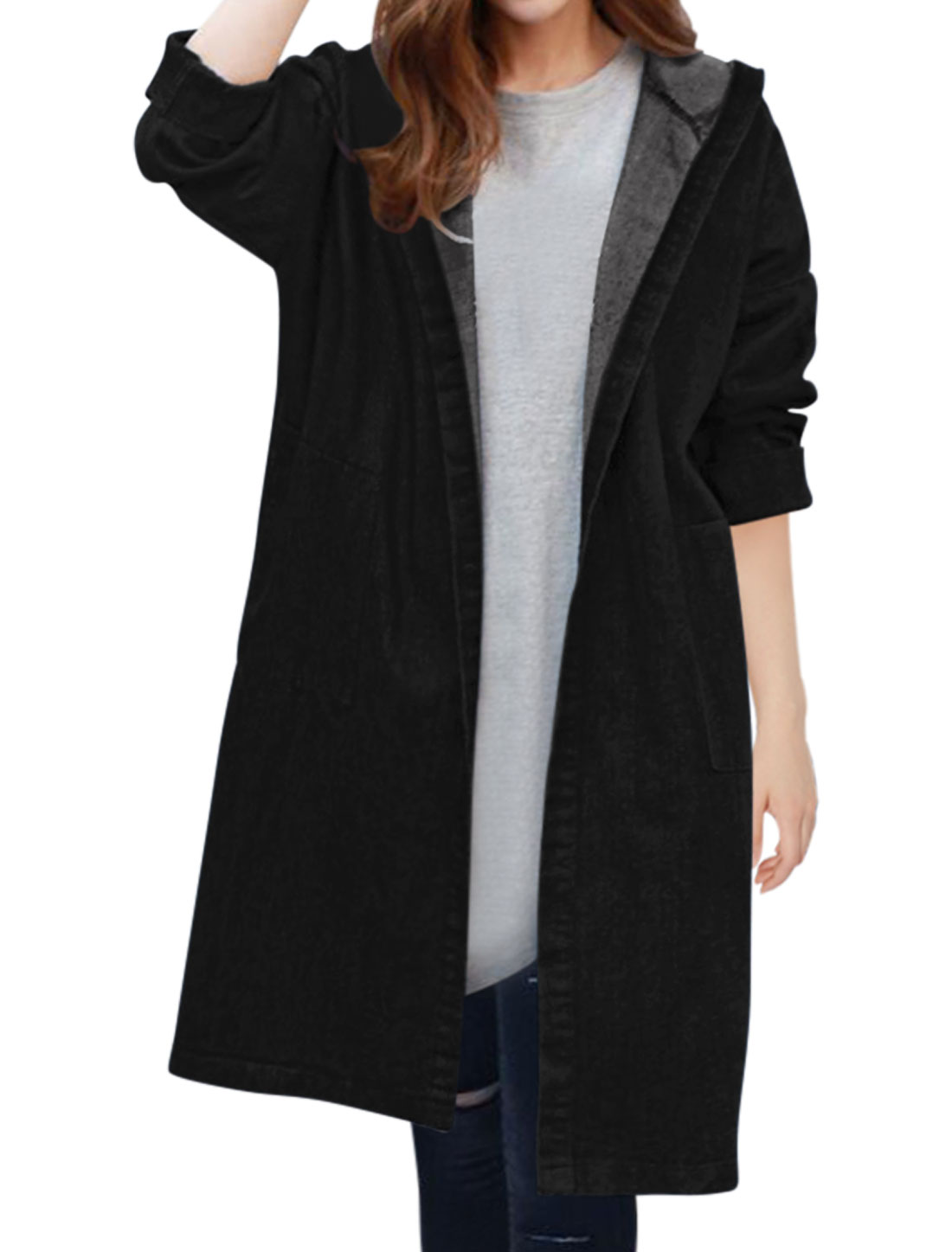 Women Open Front Knee Length Loose Hooded Denim Cardigan Black XS