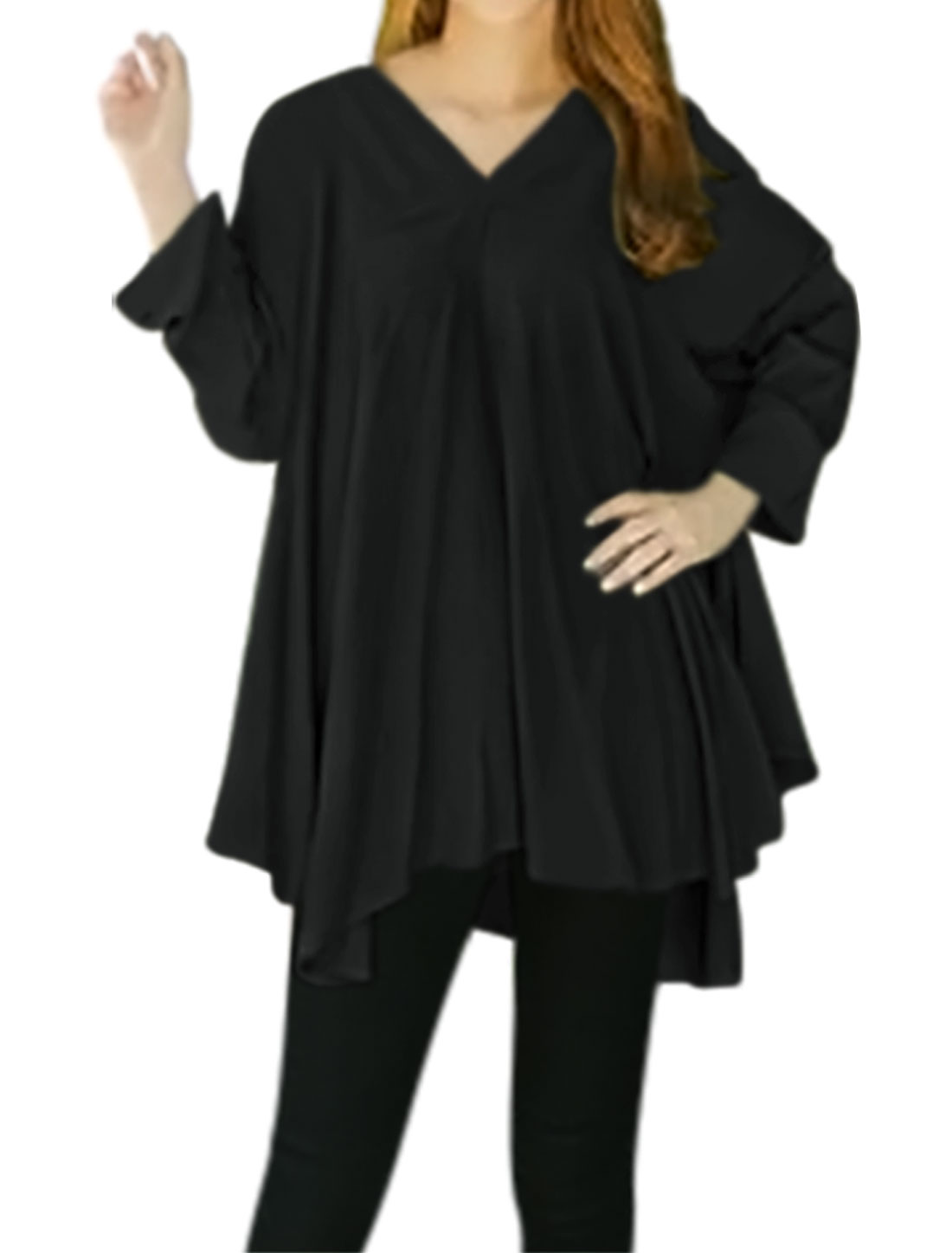 Women V Neck Batwing Sleeves Asymmetric Hem Swing Tunic Top Black XS