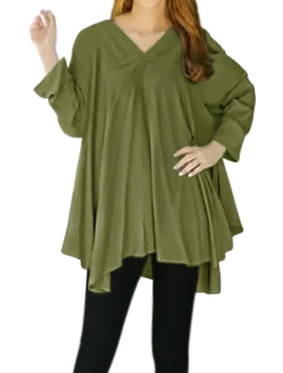 Women V Neck Batwing Sleeves Asymmetric Hem Swing Tunic Top Green XS
