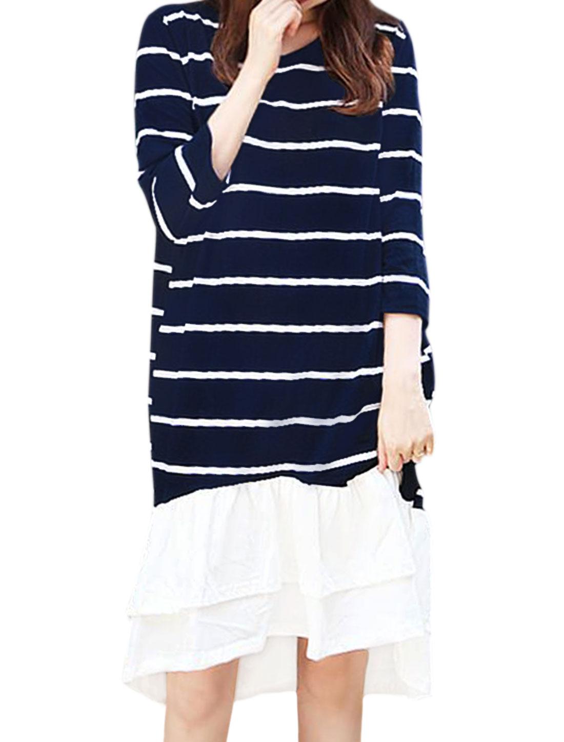 Women 3/4 Sleeves Paneled Flouncing Hem Layered Stripes Dress Blue XS