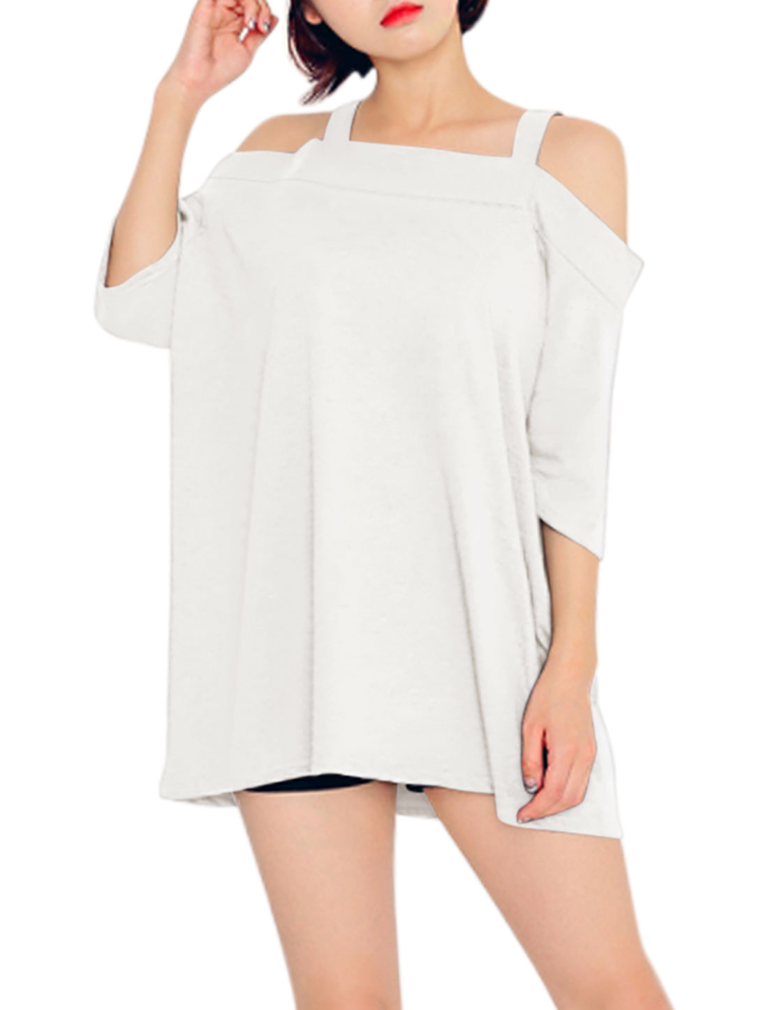 Women Straps Off Shoulder 3/4 Sleeves Loose Tunic Top White L