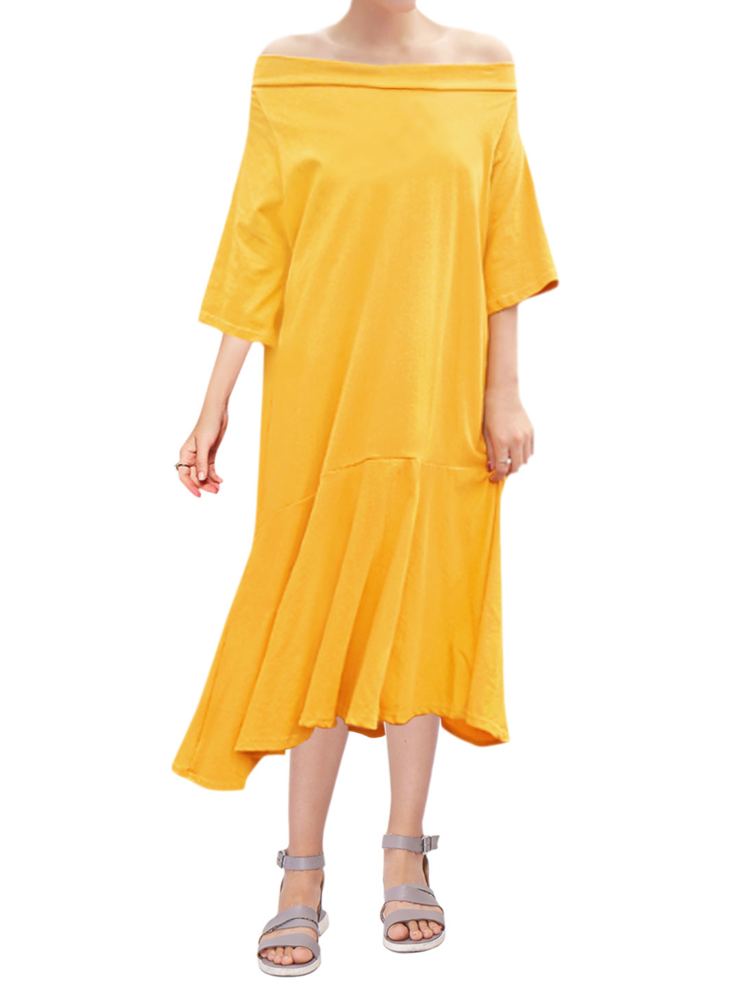 Women Off Shoulder 3/4 Sleeves Flouncing Hem Loose Midi Dress Yellow M