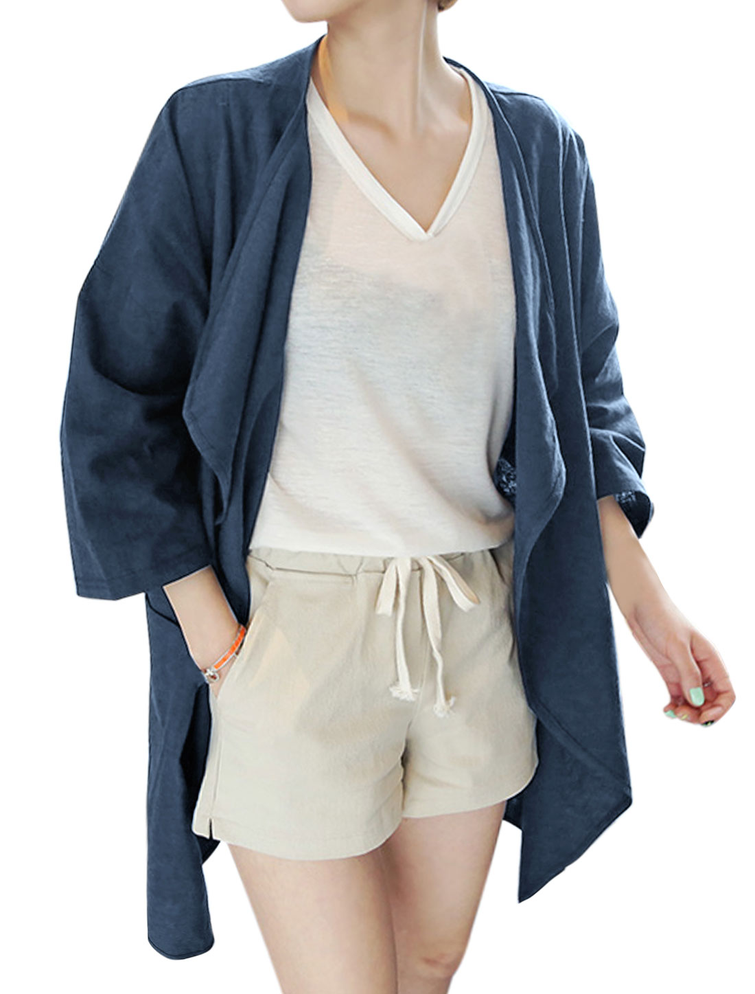 Women 3/4 Sleeves Turn Down Collar Two Pockets Tunic Jacket Blue XS