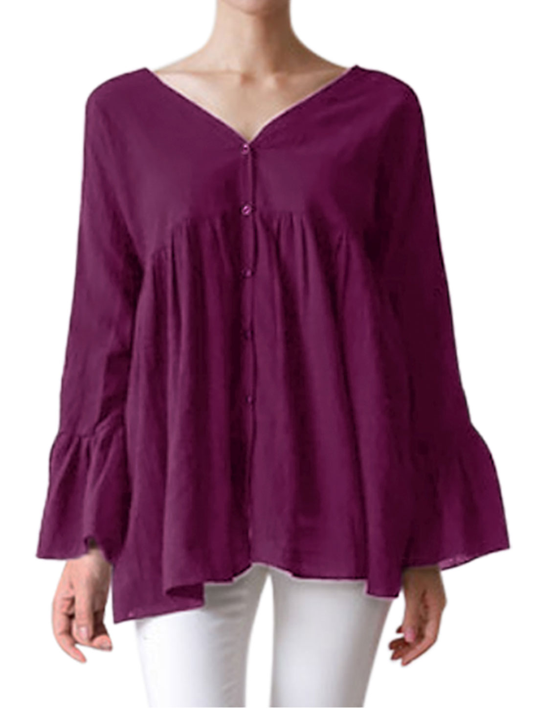 Women Batwing Sleeves Bell Cuffs Buttoned Flouncing Tunic Top Purple XS