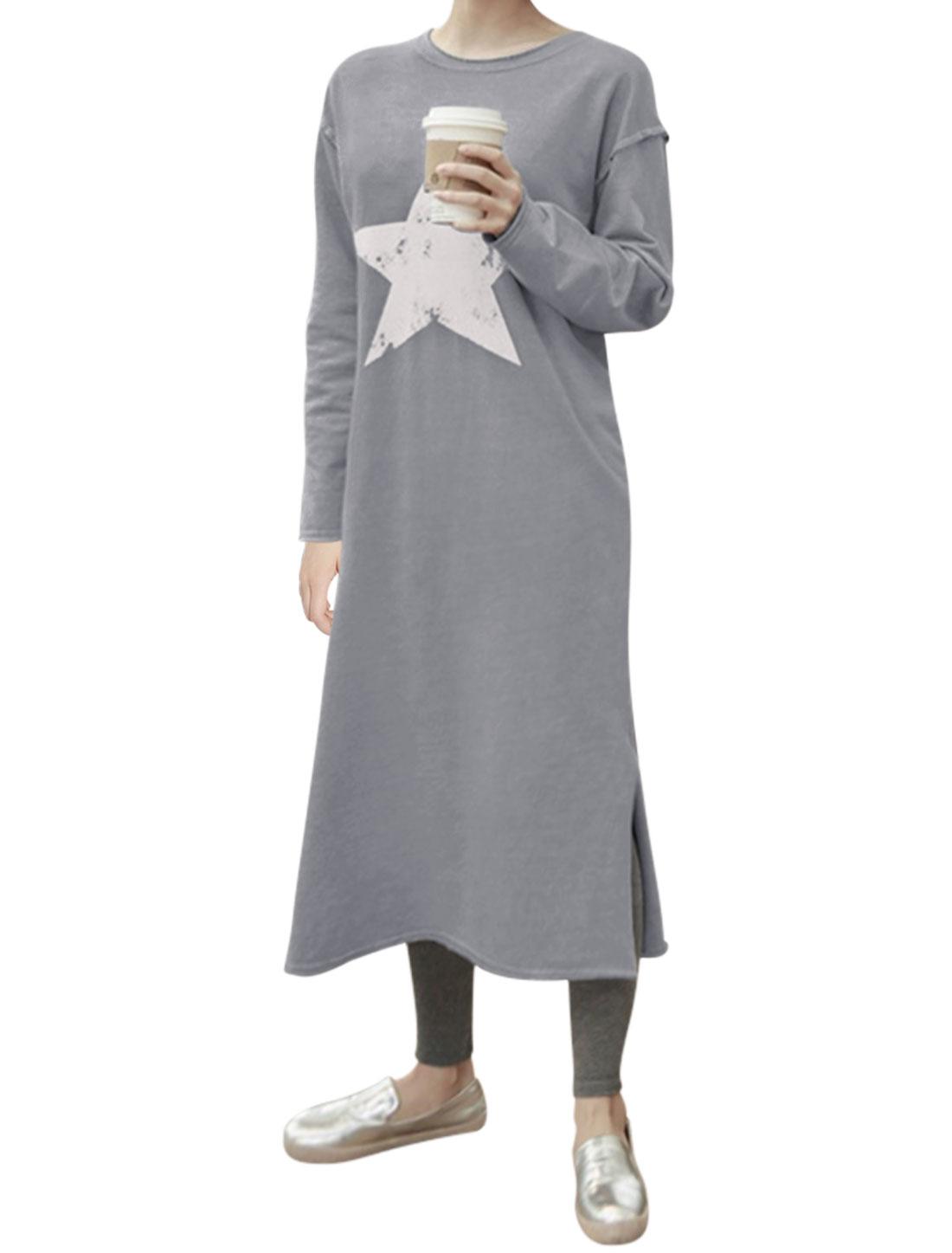 Women Split Sides Star Prints Mid-Calf Sweatshirt Dress Gray XS
