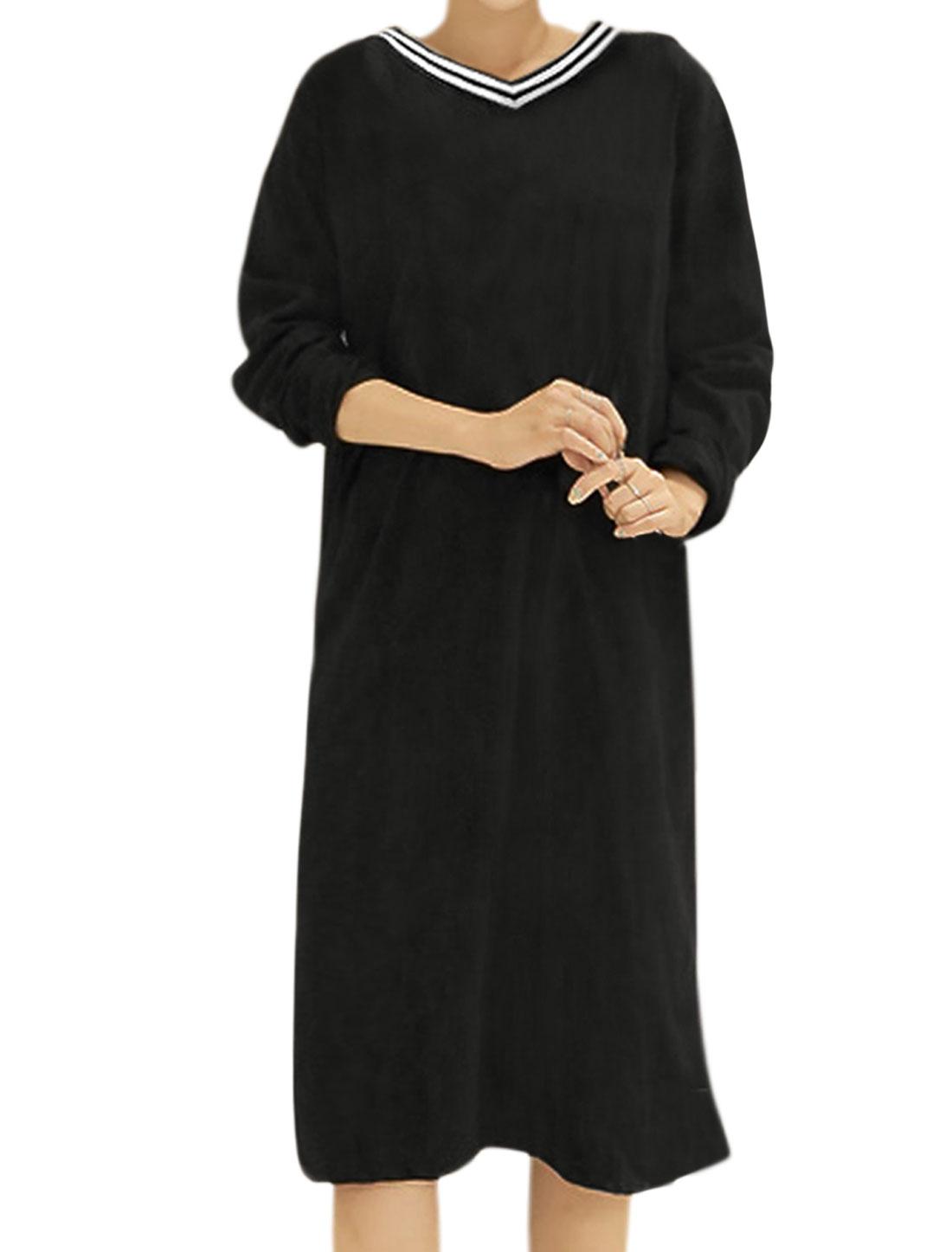 Women V Neck Long Sleeves Varsity Stripes Split Back Loose Dress Black XS