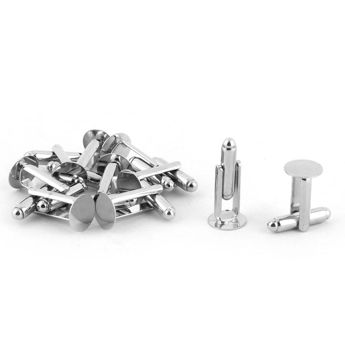 Metal Cuff Links Blanks 10mm Dia Glue Pad Cufflinks Silver Tone 10pcs