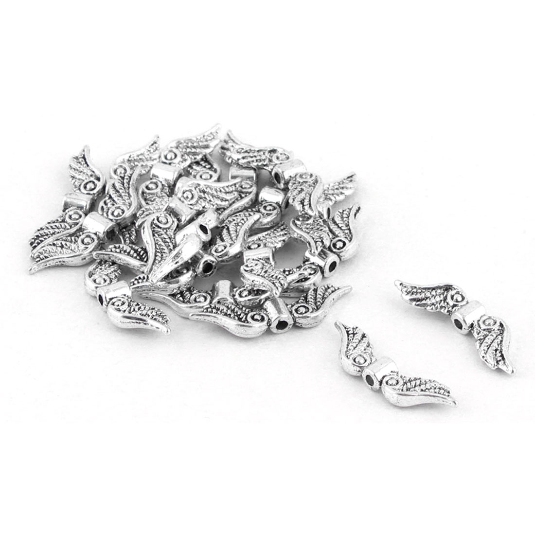 Plastic Wings Shape DIY Bracelet Decor Making Beads Silver Tone 20pcs