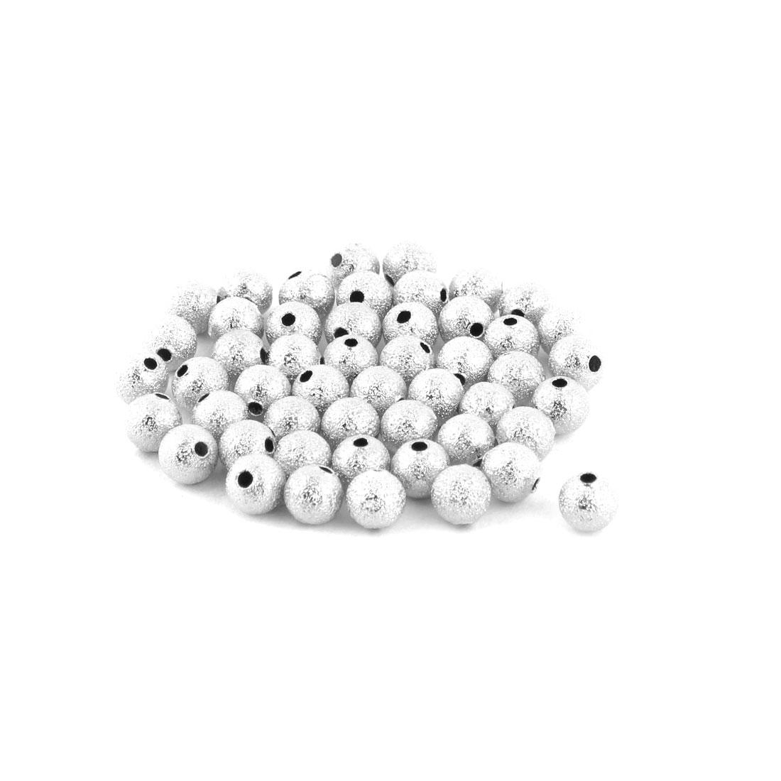 Plastic DIY Necklace Bracelet Making Beads Silver Tone 6mm Diameter 50pcs