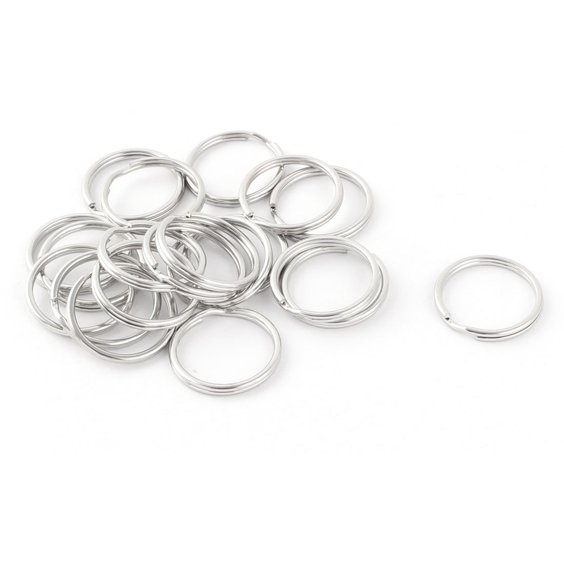 Metal Free DIY Keys Ring Chain Key Split Loop Holder Silver Tone 20mm Diameter 20 Pcs