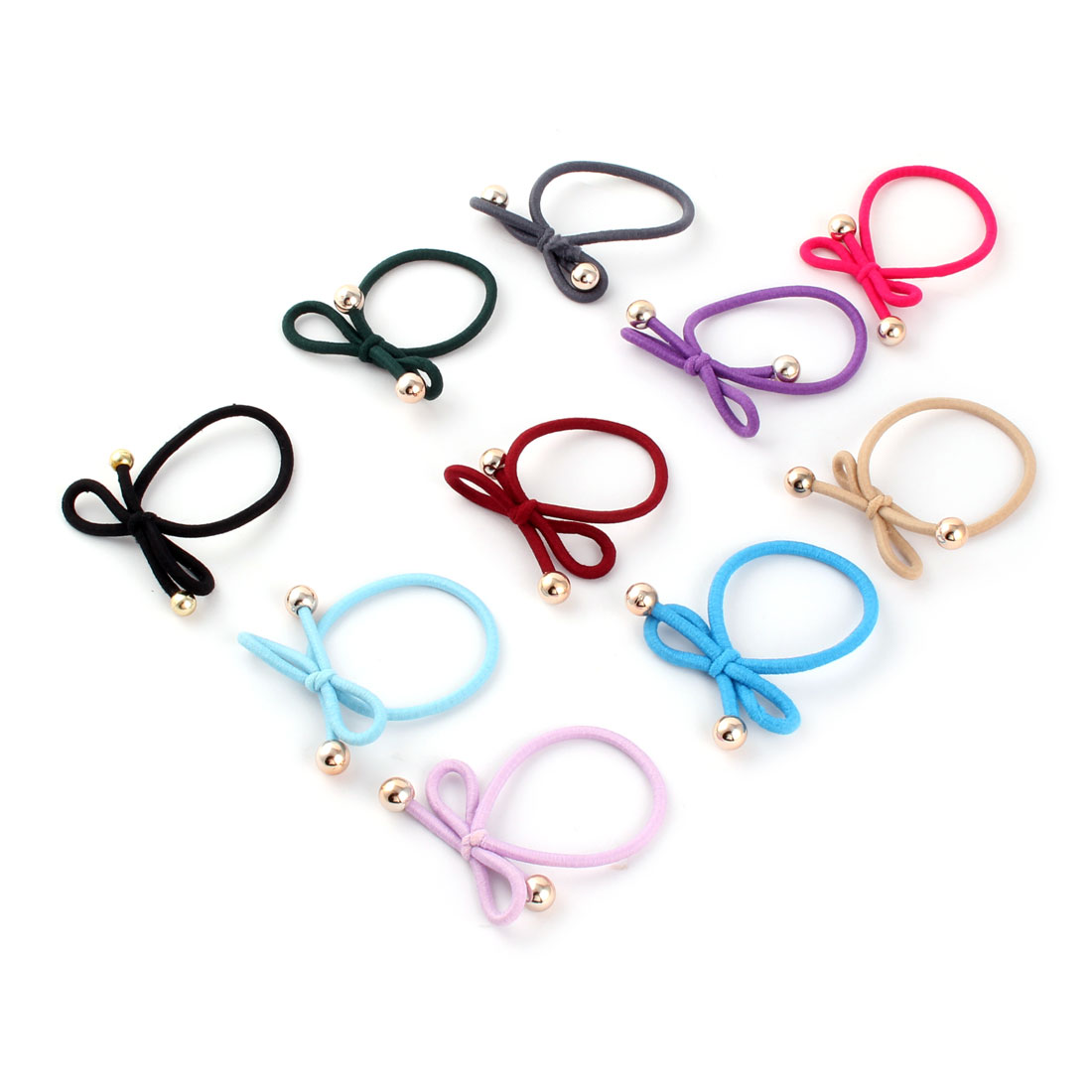 Lady Rubber Bowknot Decor Hairstyle Elastic Ponytail Holders Hair Bands 10 Pcs
