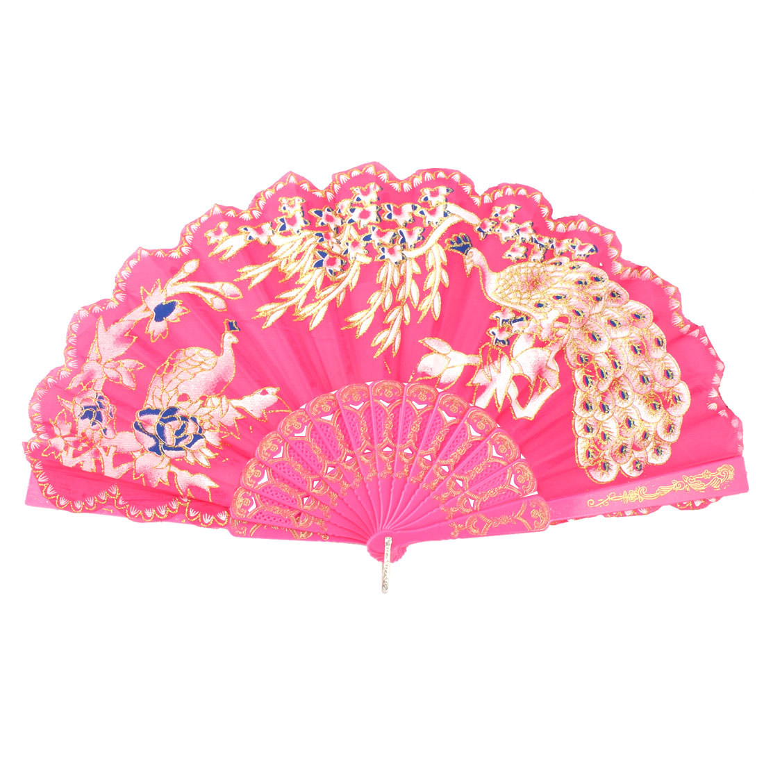 Lady Plastic Frame Two Peacock Pattern Chinese Style Cooling Fan Multicolour