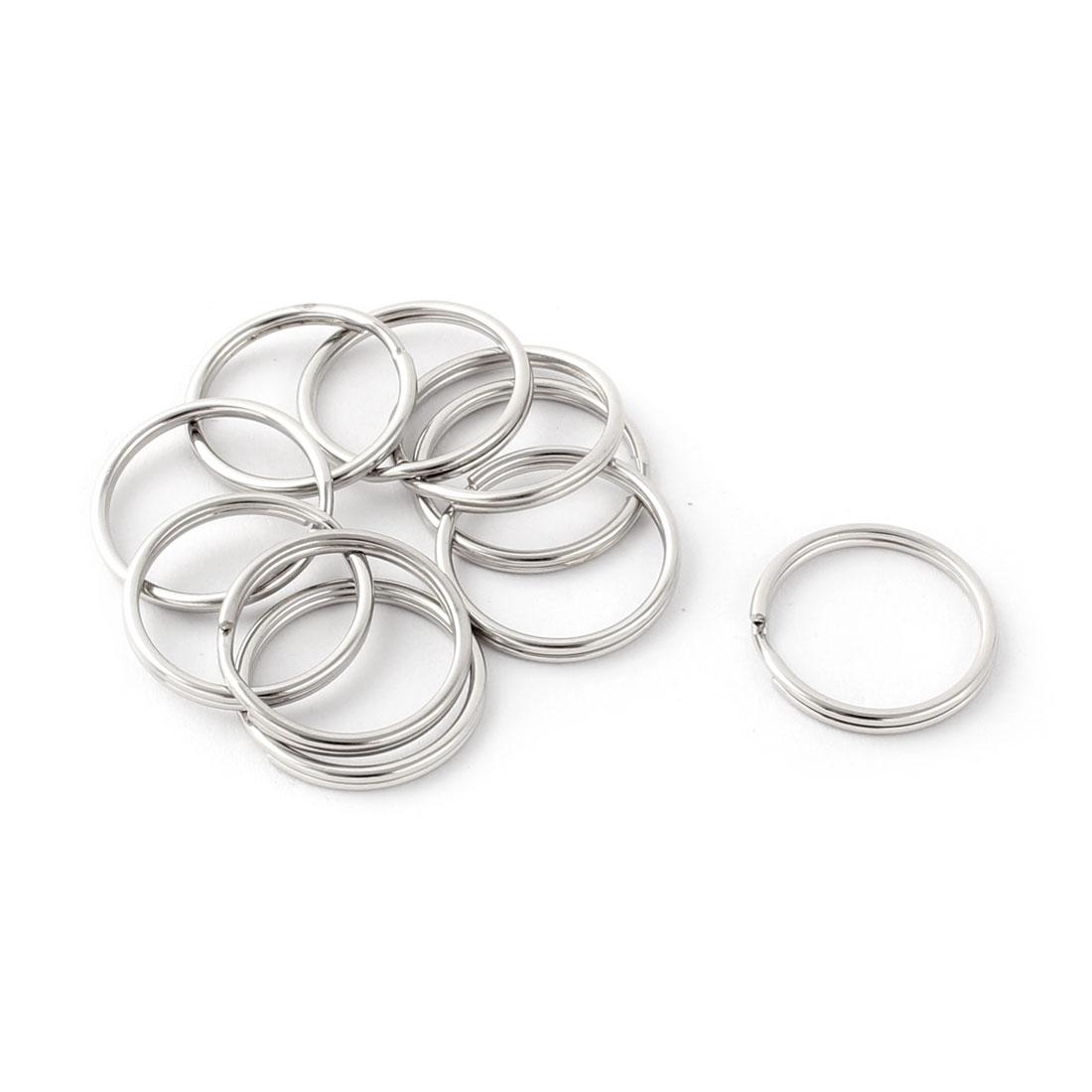 Metal Free DIY Keys Ring Chain Key Split Loop Holder Silver Tone 20mm Diameter 10 Pcs