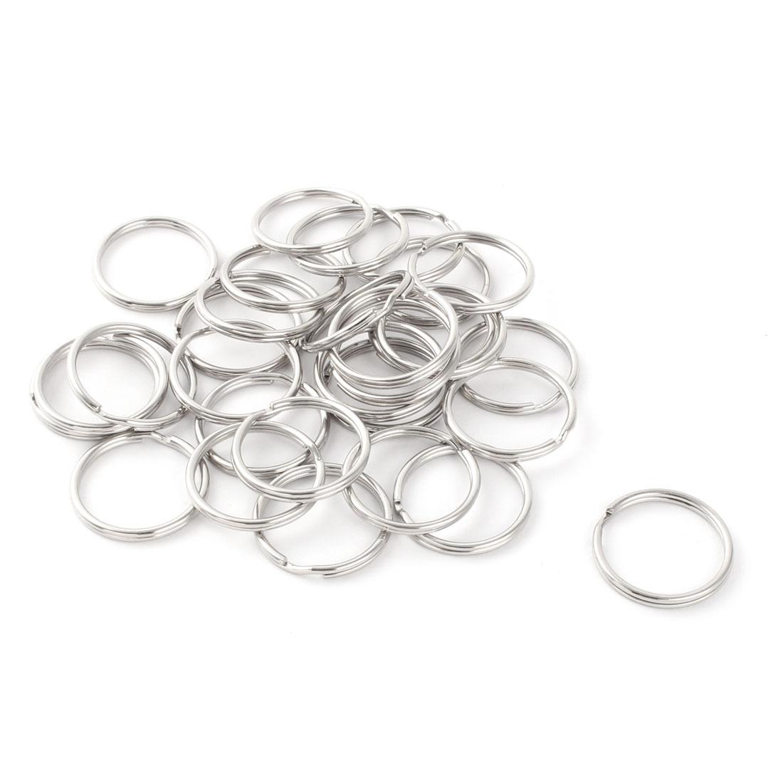 Metal Free DIY Keys Ring Chain Key Split Loop Holder Silver Tone 25mm Diameter 30 Pcs