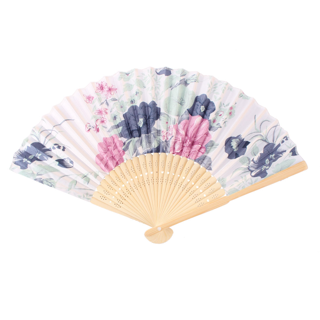Lady Bamboo Frame Flower Printed Elegant Summer Hand Folding Cooling Fan Multicolor
