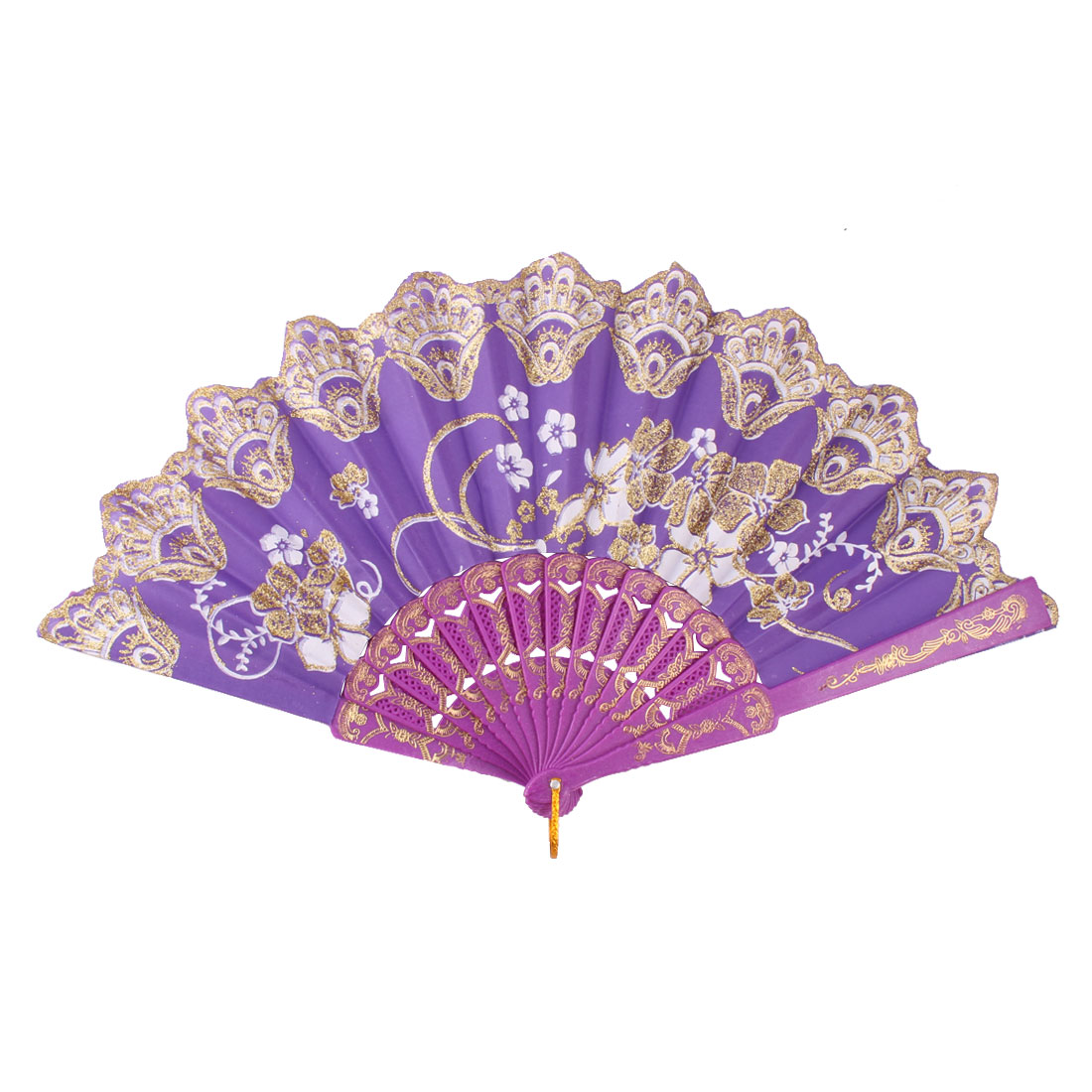 Lady Plastic Frame Flower Pattern Chinese Style Dance Hand Folding Cooling Fan