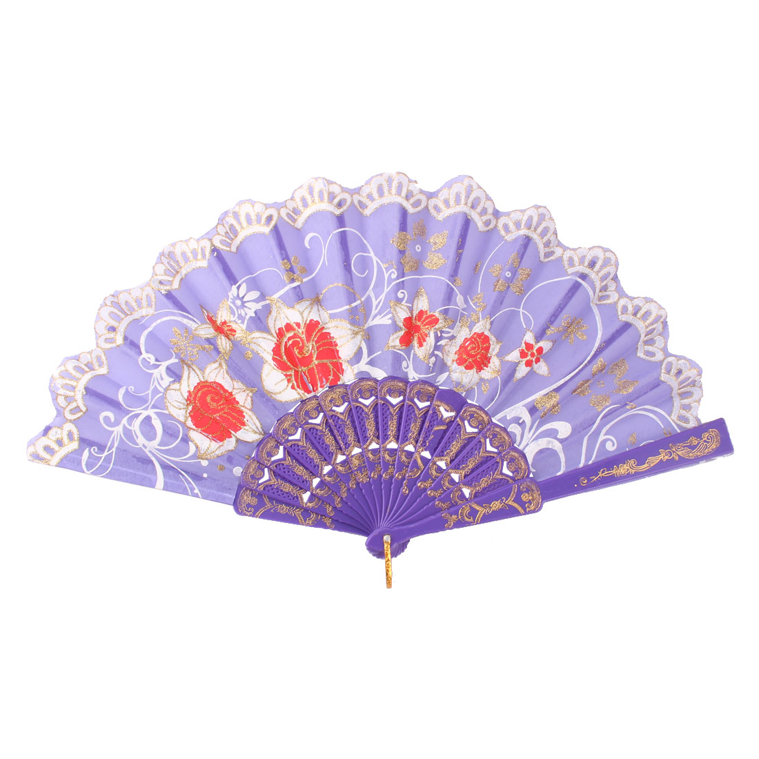 Lady Plastic Frame Flower Pattern Chinese Style Dance Hand Folding Fan Colourful