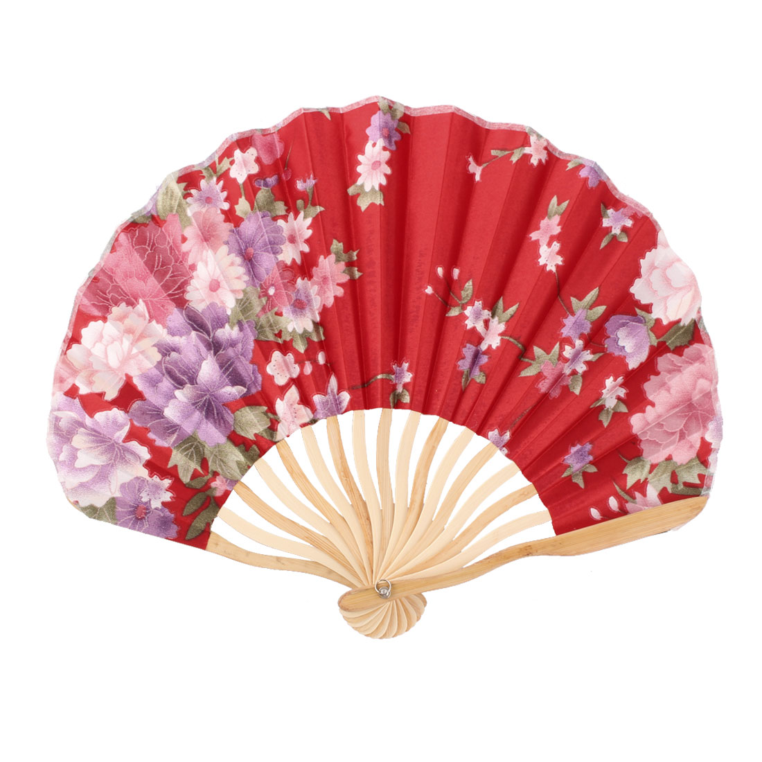 Women Dancing Party Bamboo Frame Peony Printed Summer Hand Folding Fan Multicolor