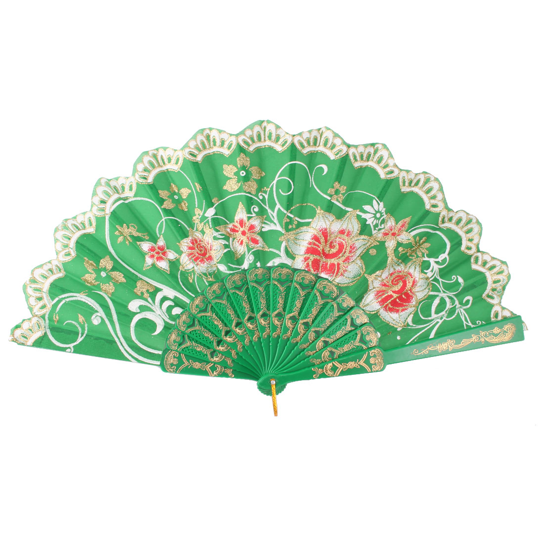 Lady Plastic Frame Floral Pattern Chinese Style Dance Hand Folding Fan Colorful