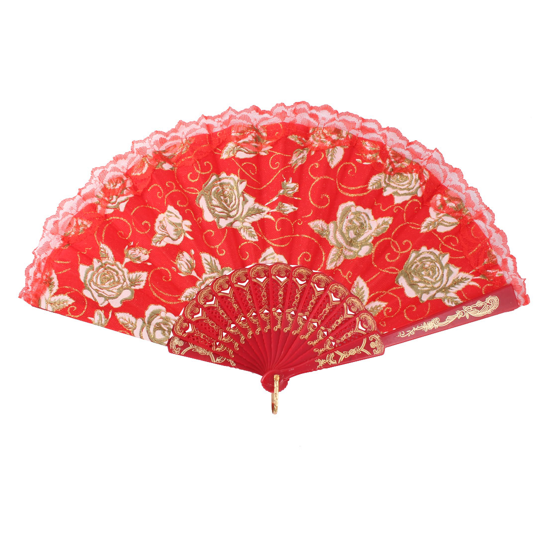 Lady Plastic Frame Rose Pattern Chinese Style Summer Hand Folding Cooling Fan Red