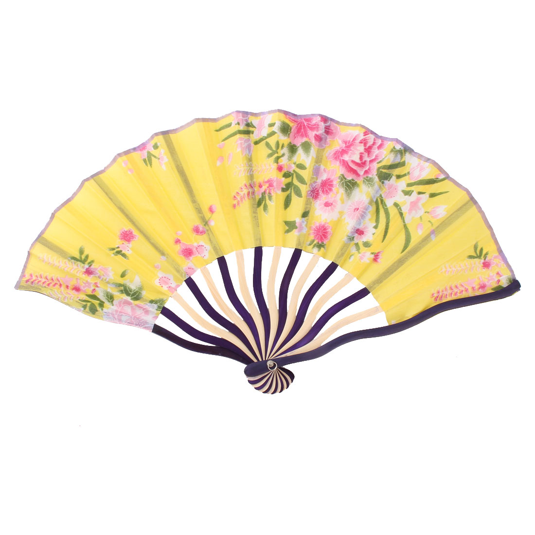 Women Bamboo Ribs Peony Printed Chinese Style Summer Hand Folding Fan Multicolor