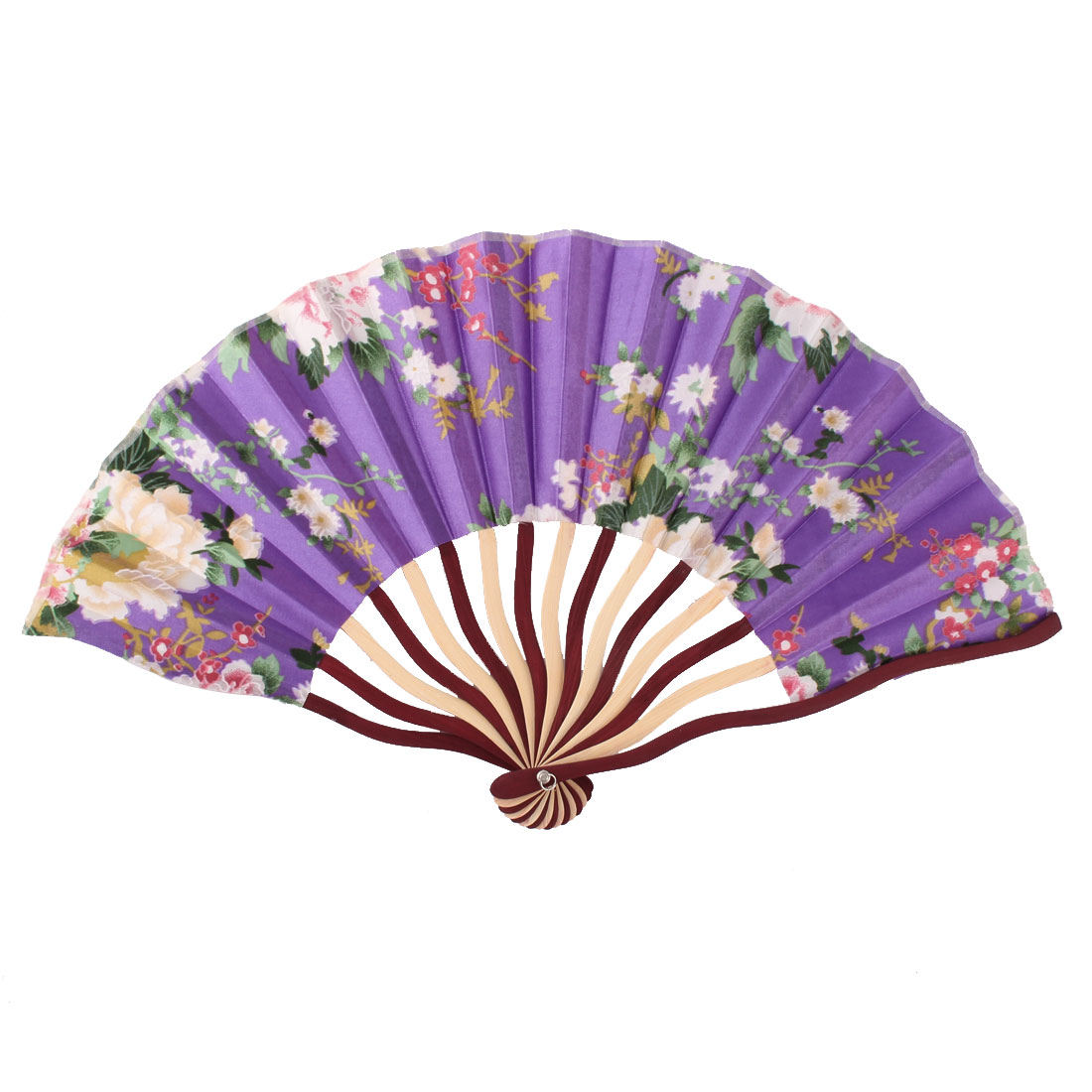 Lady Bamboo Ribs Peony Printed Chinese Style Hand Folding Cooling Fan Colorful