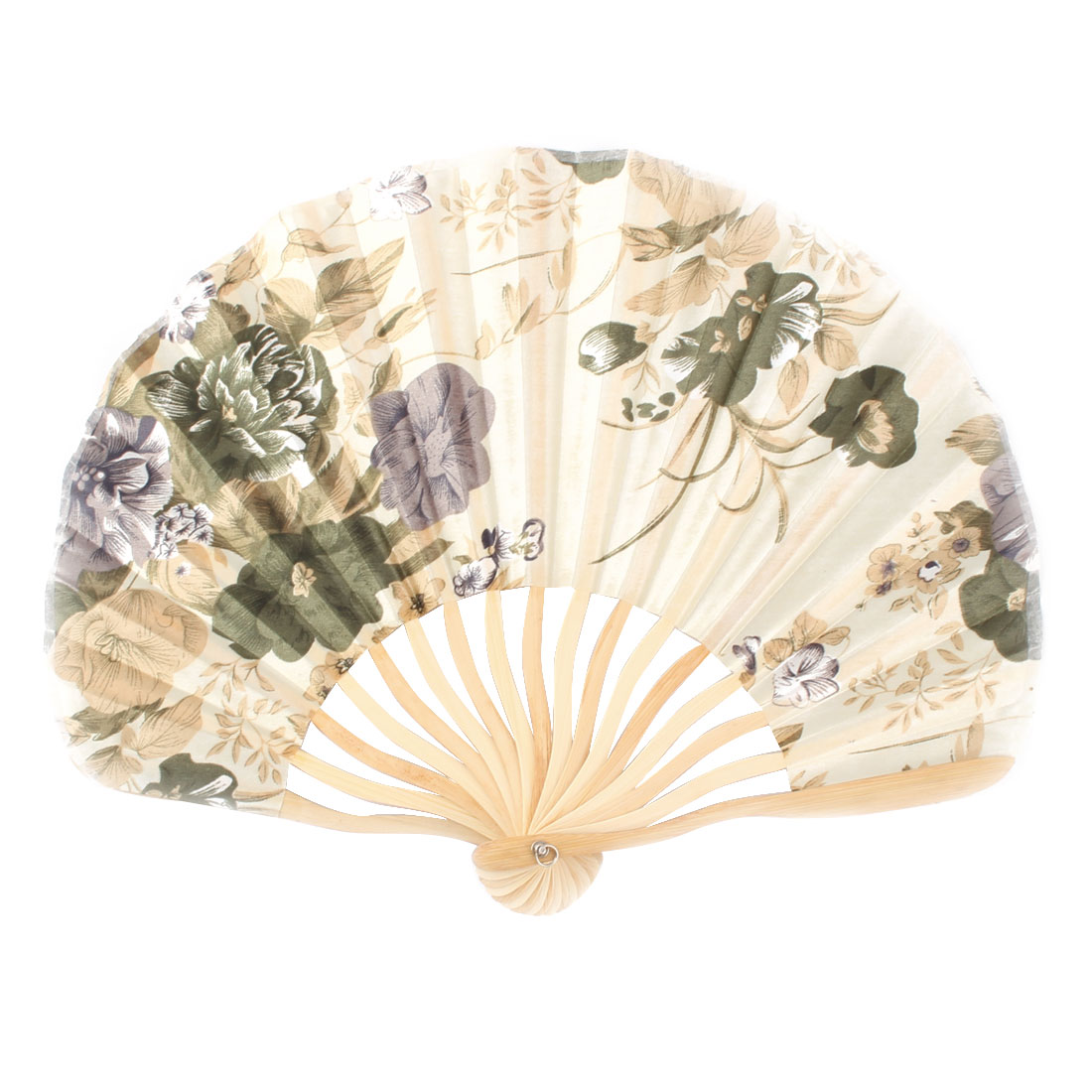 Women Wedding Party Bamboo Frame Peony Printed Hand Folding Cooling Fan Colorful