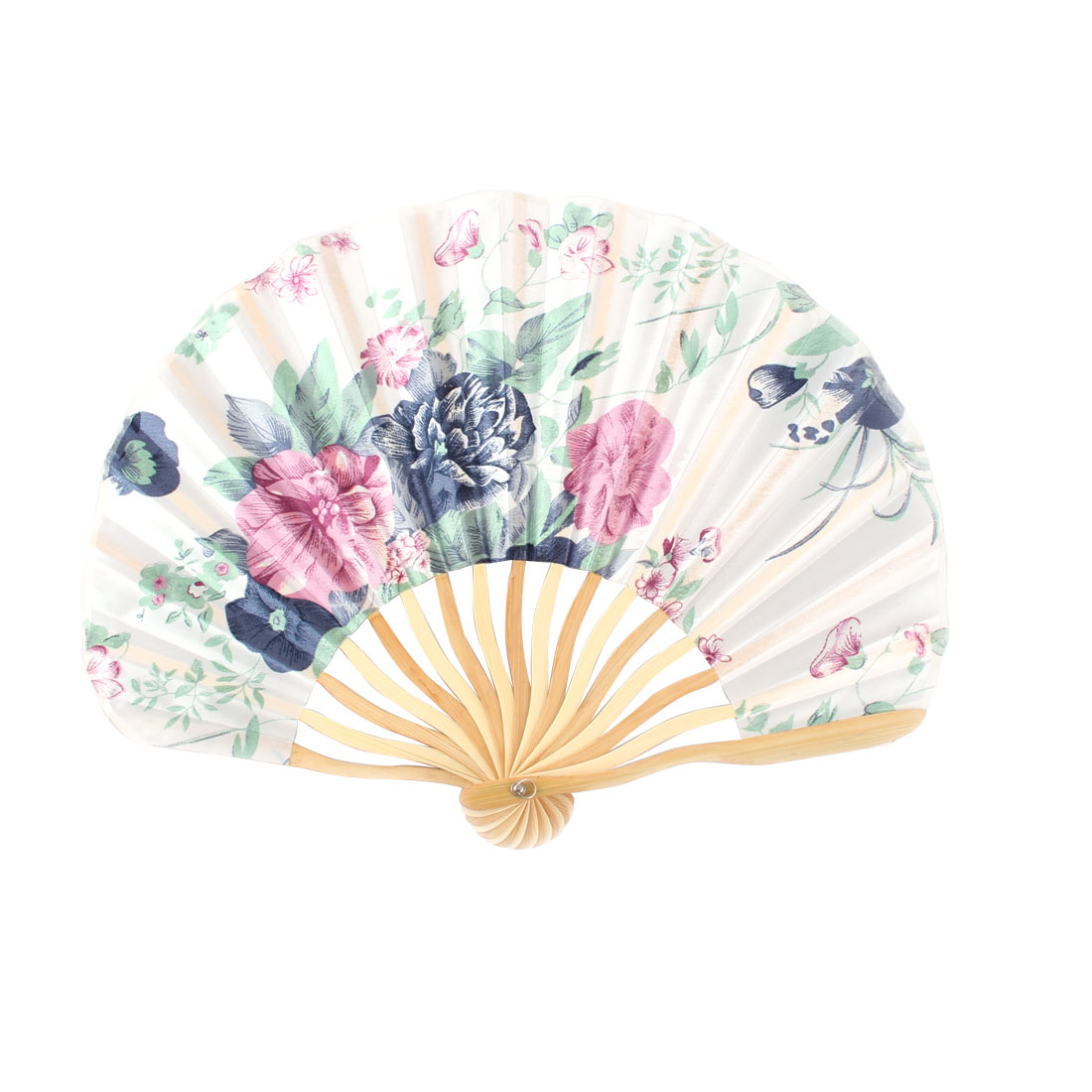 Women Dancing Party Bamboo Frame Peony Printed Summer Hand Folding Fan Colorful