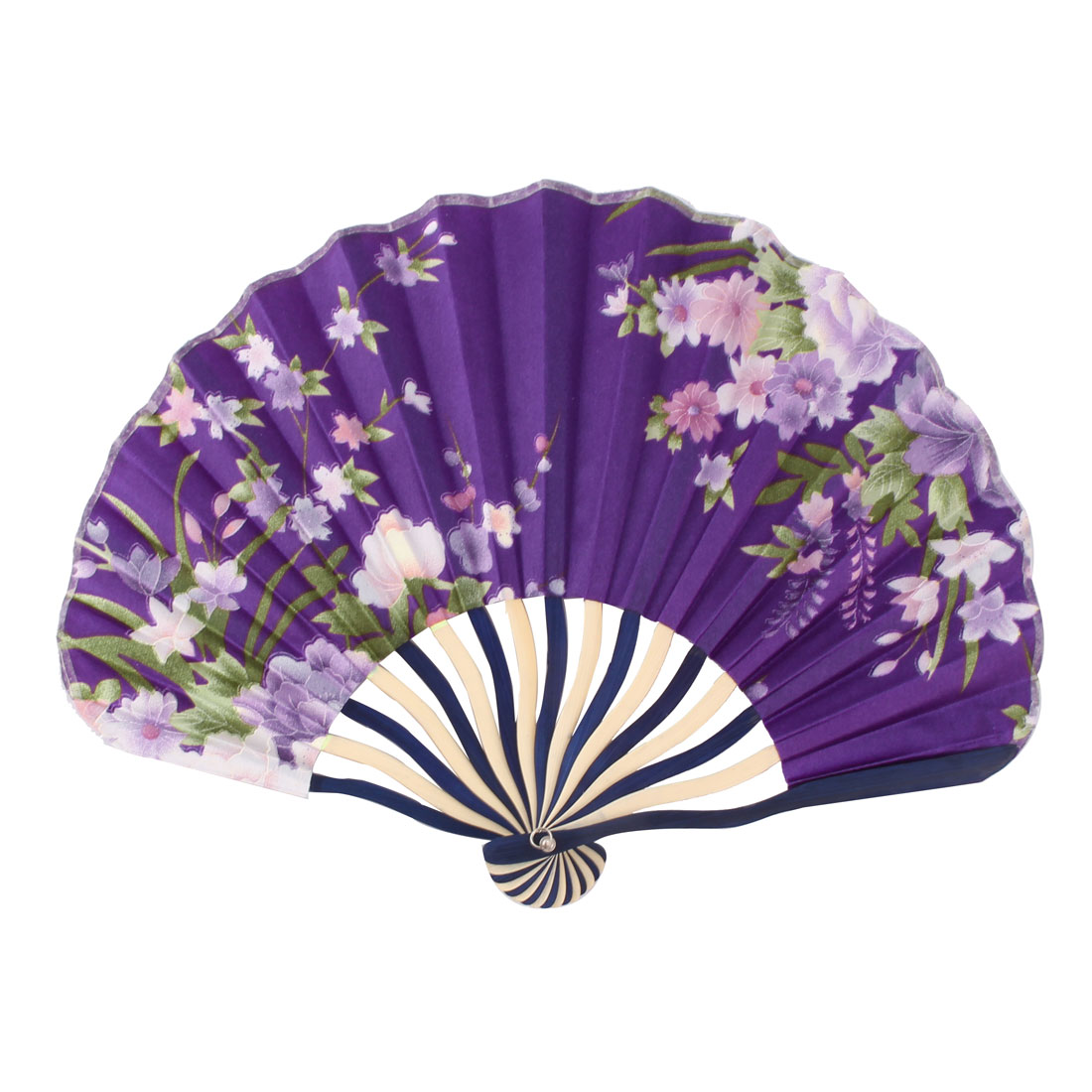 Dancing Party Bamboo Frame Peony Printed Seashell Shaped Hand Folding Cooling Fan